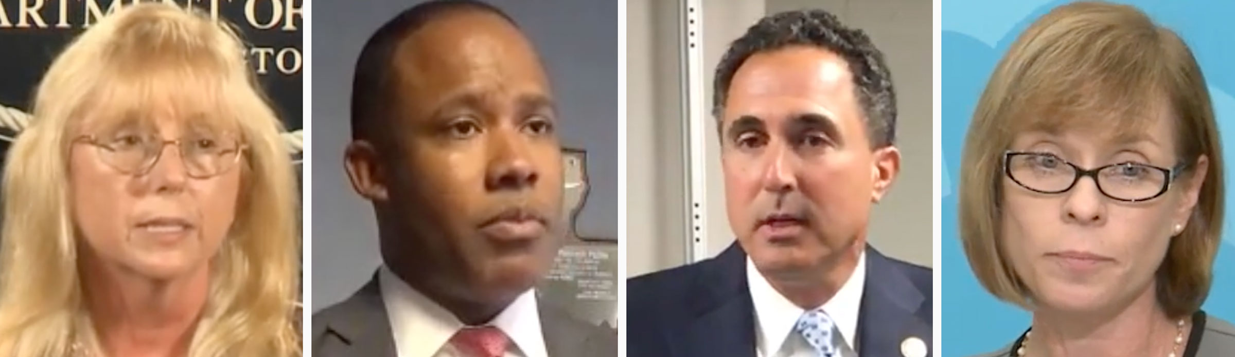 Former U.S. attorneys, from left, Eileen Decker, Kenneth Polite Jr., Richard Hartunian and Carole Rendon could be attractive recruits for House Democrats in 2018. (Screenshots)