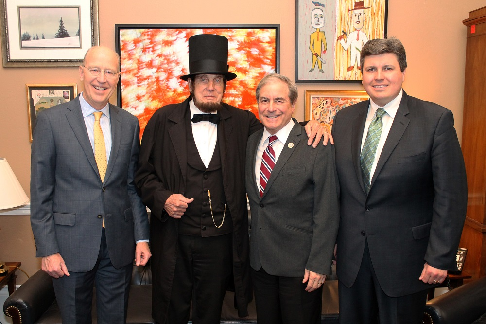 """From left to right: Bill Goodman, executive director of the Kentucky Humanities Council, Jim Sayre, Abraham Lincoln Kentucky Chautauqua presenter, Kentucky Rep. <a class=""""memberLink"""" title=""""Click to view member info in a new window"""" href=""""http://data.rollcall.com/members/25798?rel=memberLink"""" target=""""_blank"""">John Yarmuth</a>, and Nathan Mick, board member of the Kentucky Humanities Council. (Photo courtesy of Yarmuth's office)"""