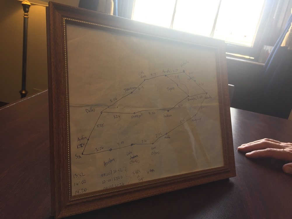 The framed map Rep. Will Hurd, R-Texas, drew. (Alex Gangitano/ CQ Roll Call)