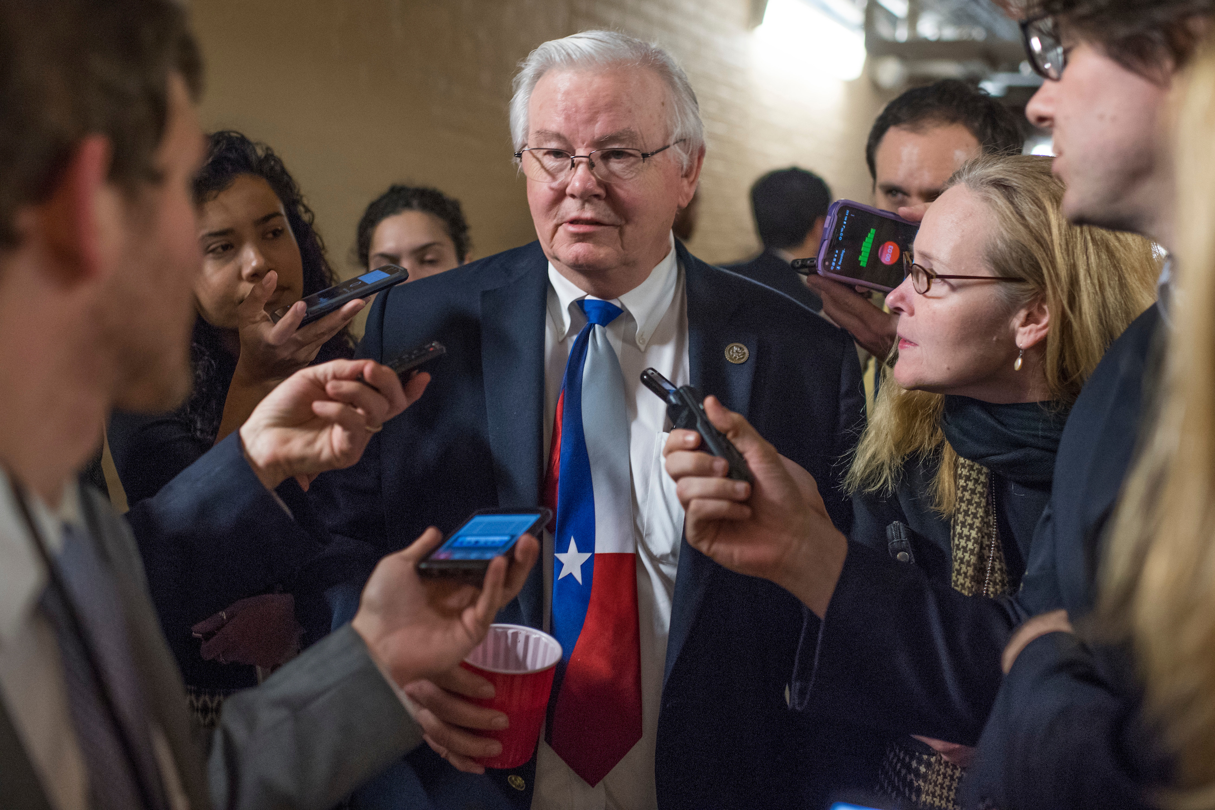 UNITED STATES - MARCH 24: Rep. Joe Barton, R-Texas, leaves a meeting of the House Republican Conference where Speaker Paul Ryan, R-Wis., announced the vote for American Health Care Act had been canceled, March 24, 2017. (Photo By Tom Williams/CQ Roll Call)