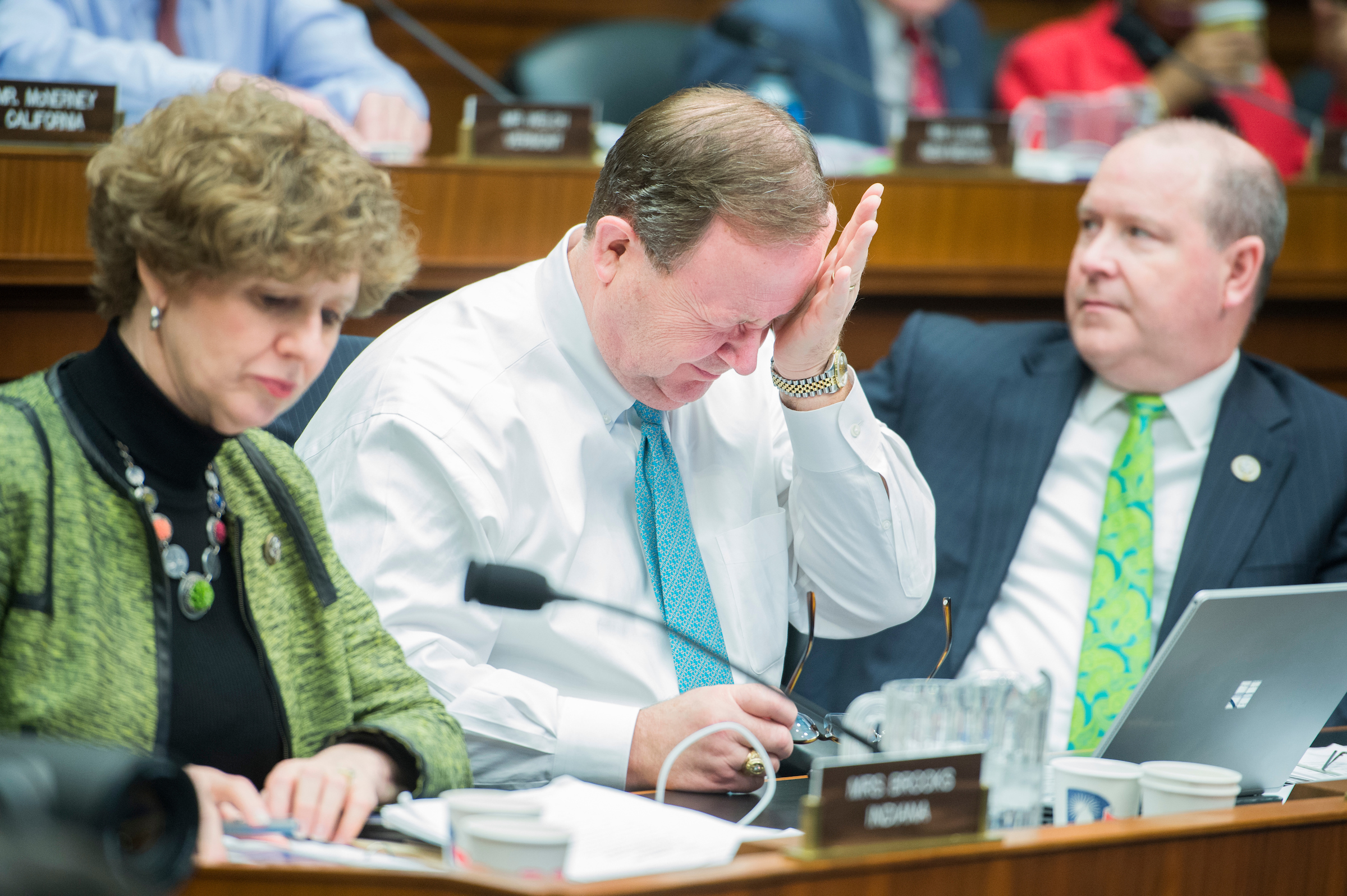 From left, Reps. Susan Brooks, R-Ind., Bill Flores, R-Texas, and Larry Bucshon, R-Ind., are still going after the 24-hour mark of a House Energy and Commerce Committee markup in Rayburn Building regarding the bill to repeal and replace the the Affordable Care Act on Thursday. The markup has began at 10:30 a.m. on Wednesday. (Tom Williams/CQ Roll Call)
