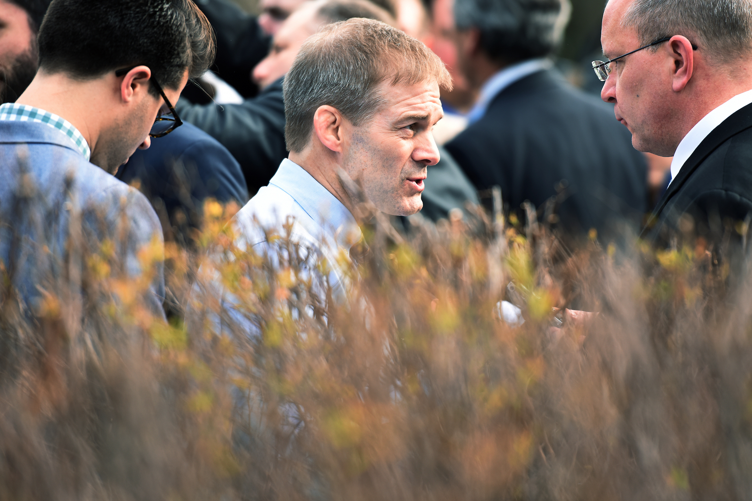On Tuesday, Rep. Jim Jordan, R-Ohio, speaks with reporters after a news conference with members of the House Freedom Caucus where they criticized the House Republican's new health care plan, the American Health Care Act. (Tom Williams/CQ Roll Call)