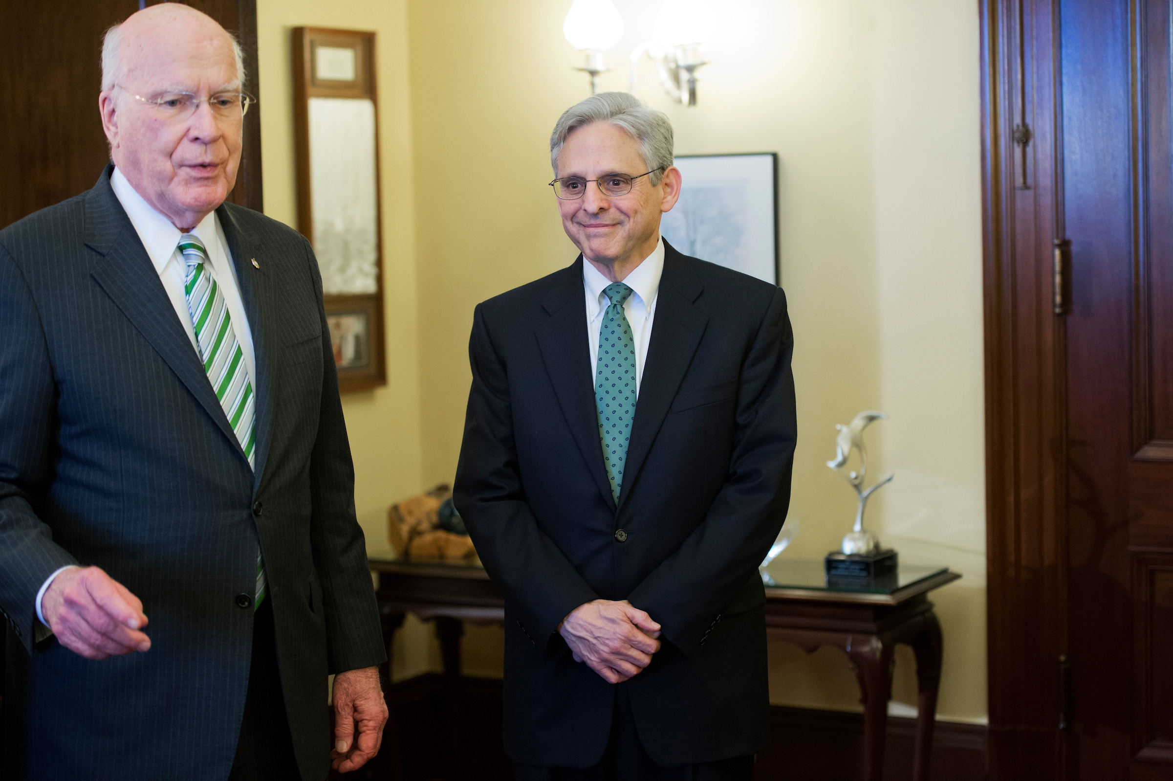 Garland, right, met with Leahy as well one year ago today. (Al Drago/CQ Roll Call File Photo)