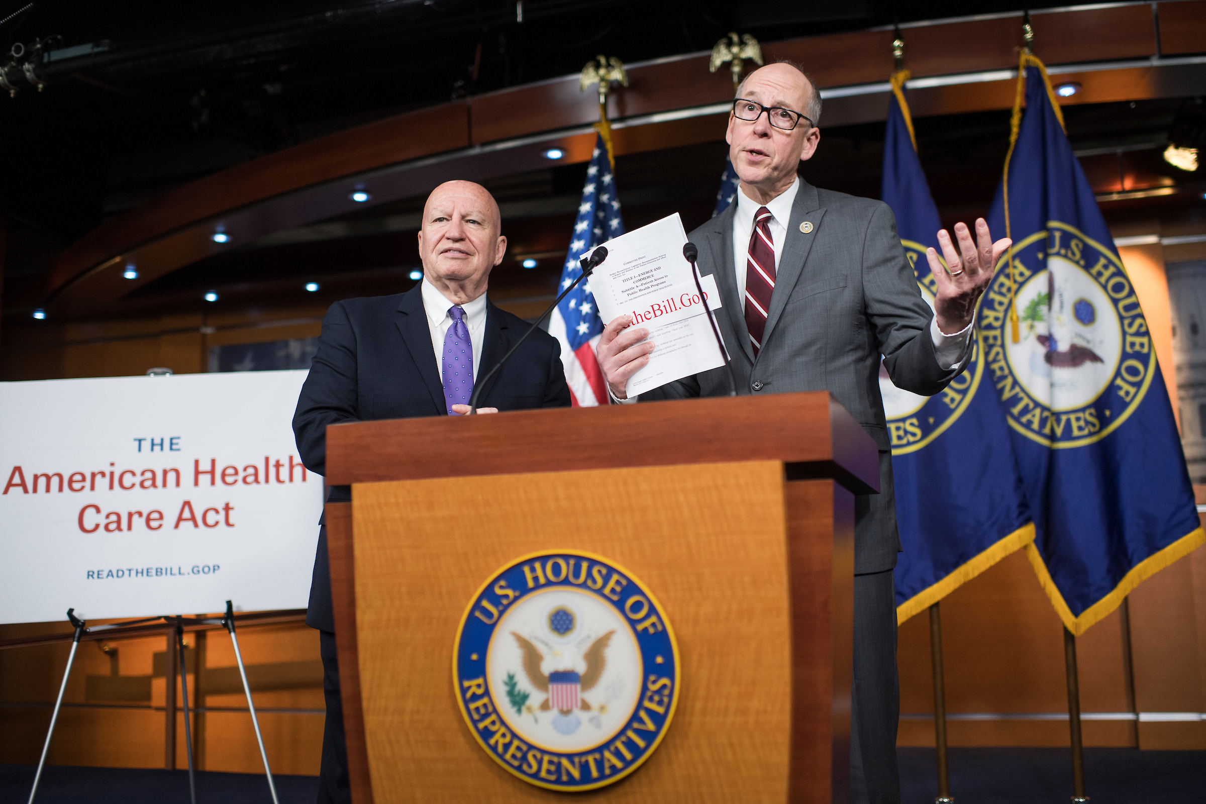 Rep. Greg Walden, R-Ore., chairman of the House Energy and Commerce Committee, and Rep. Kevin Brady, R-Texas, chairman of the House Ways and Means Committee, conduct a news conference after the initial rollout of the American Health Care Act the day before. (Tom Williams/CQ Roll Call)