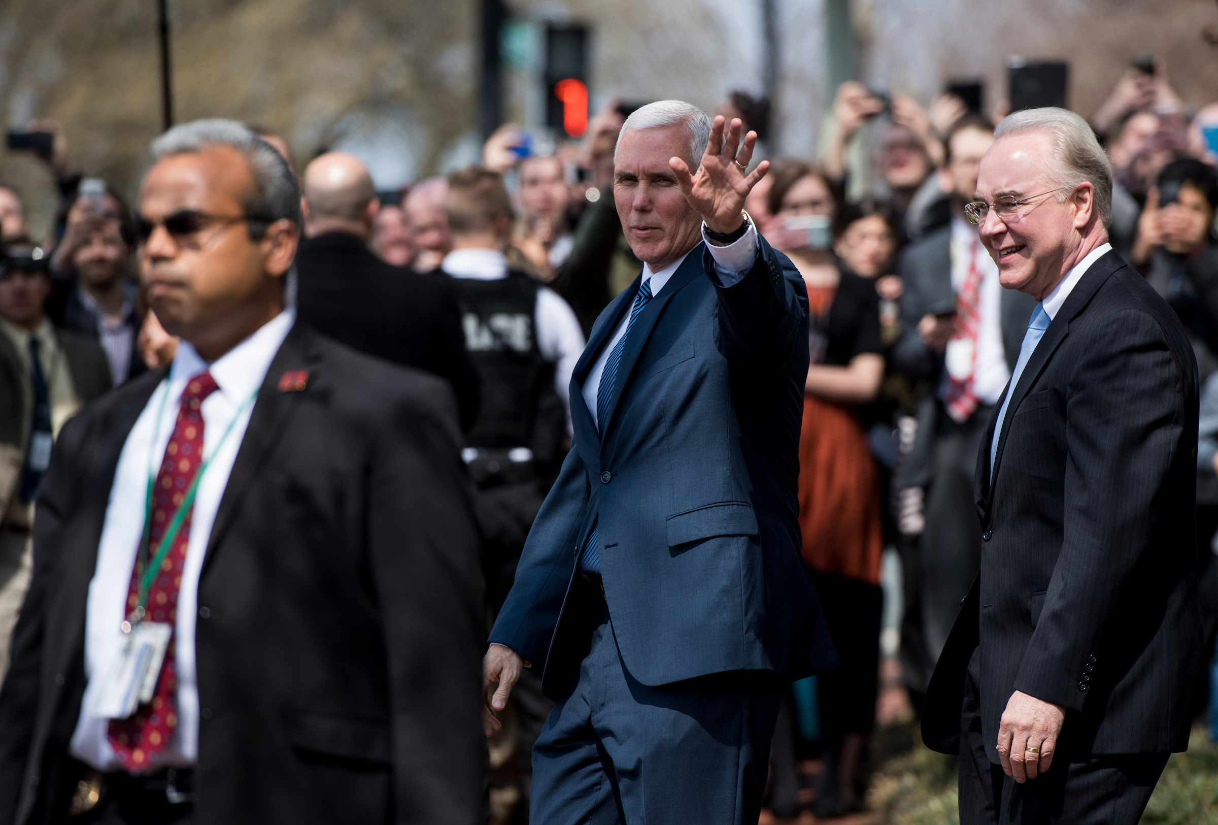 UNITED STATES - MARCH 24: Vice President Mike Pence and Health and Human Services Secretary Tom Price leave their meeting with members of the House Freedom Caucus at the Capitol Hill Club before the final vote on the American Health Care Act of 2017 on Friday, March 24, 2017. (Photo By Bill Clark/CQ Roll Call)