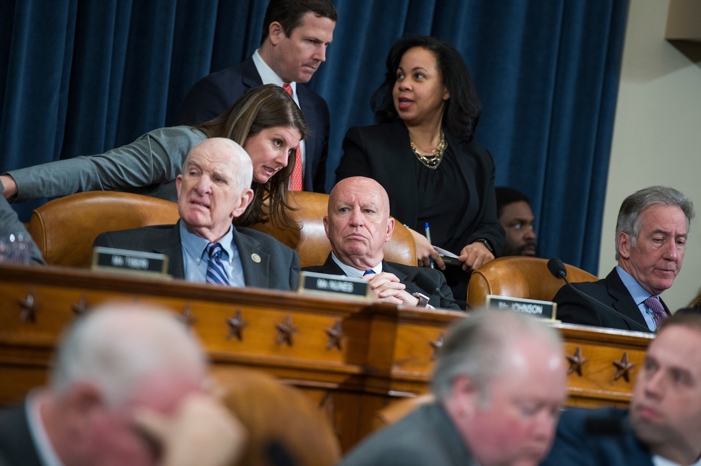 From left, Rep. Sam Johnson, R-Texas, Chairman Kevin Brady, R-Texas, and Ranking Member Richard Neal, D-Mass., conduct a House Ways and Means Committee markup in Longworth Building regarding the bill to repeal and replace the the Affordable Care Act, on Wednesday. (Tom Williams/CQ Roll Call)