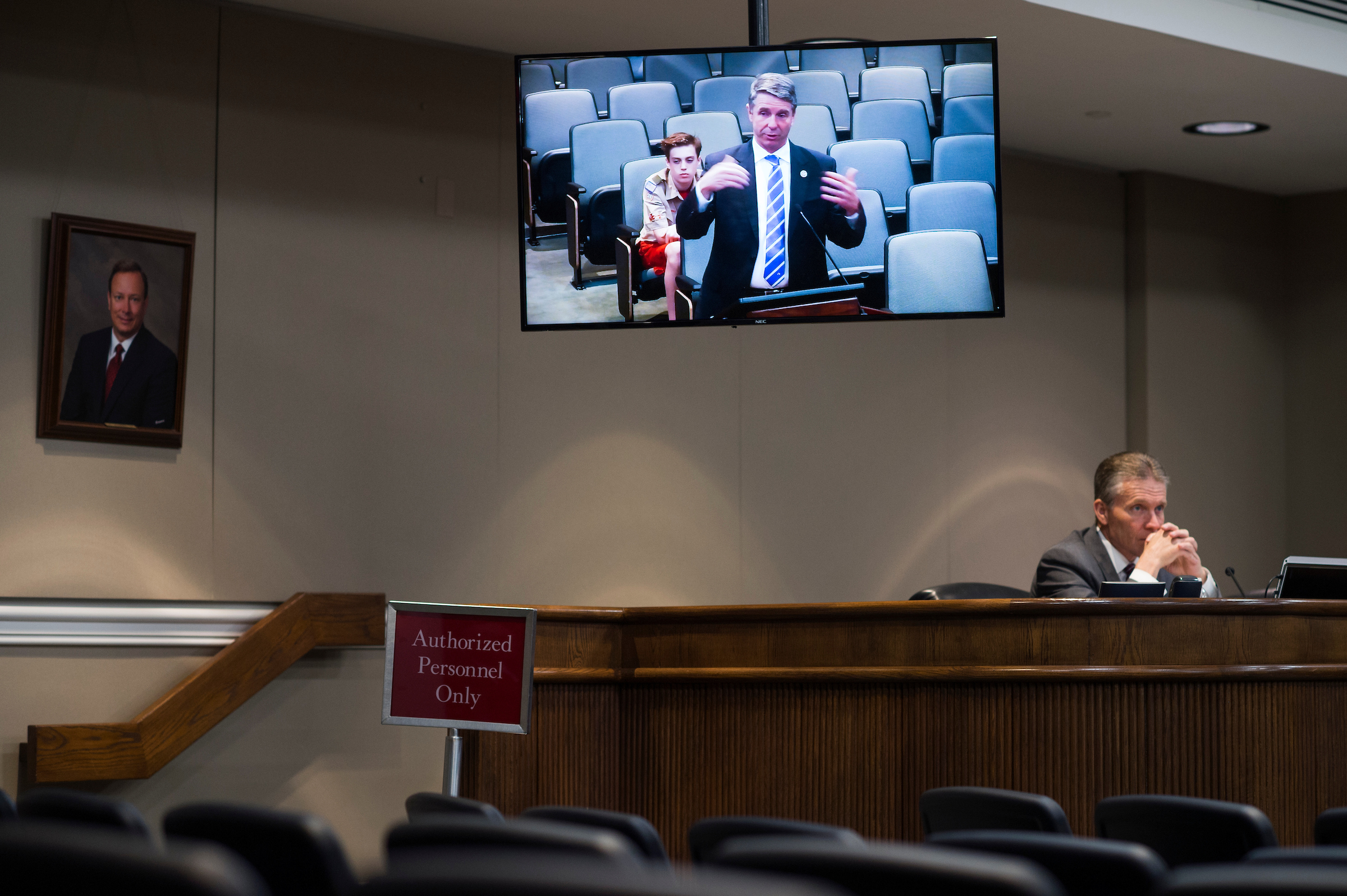 UNITED STATES - APRIL 18: Rep. Rob Wittman, R-Va., is seen on a monitor while addressing a meeting of the Stafford County Board of Supervisors in Stafford, Va., on April 18, 2017. (Photo By Tom Williams/CQ Roll Call)