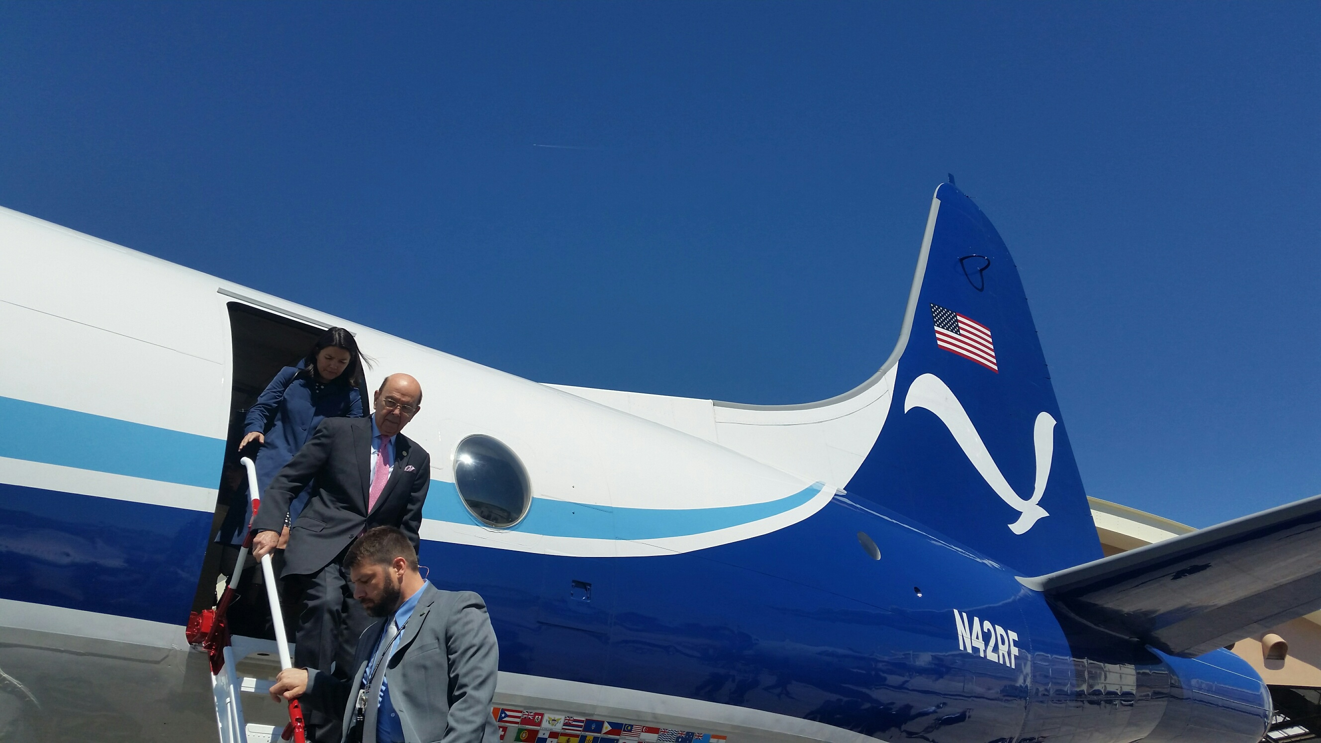 Commerce Secretary Wilbur Ross toured a hurricane hunter aircraft on Tuesday. (Niels Lesniewski/CQ Roll Call)