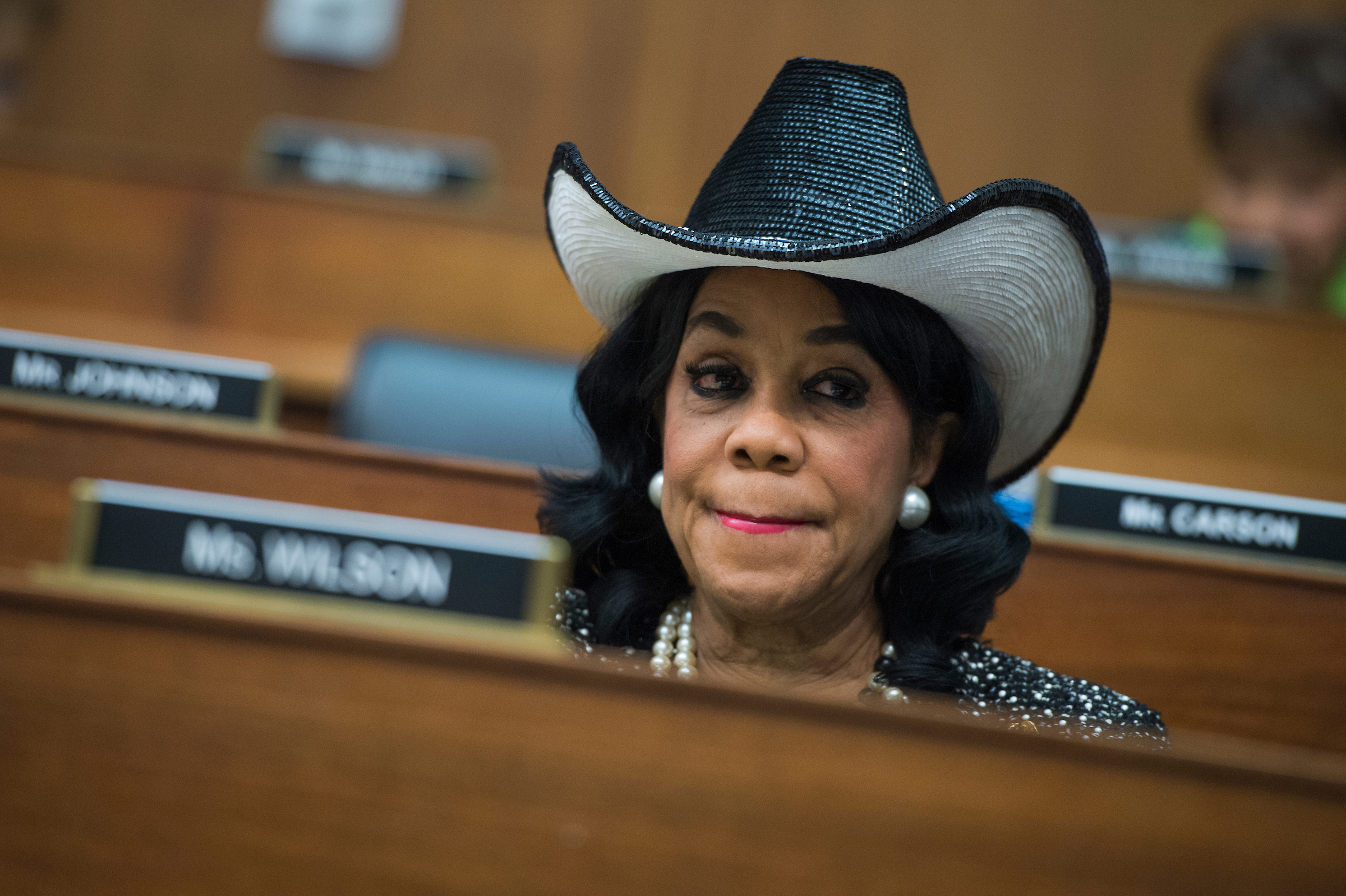 "UNITED STATES - MAY 2: Rep. Frederica Wilson, D-Fla., a House Transportation and Infrastructure Committee hearing in Rayburn Building titled ""Oversight of U.S. Airline Customer Service,"" on May 2, 2017. United Airlines CEO Oscar Munoz and other industry executives testified. (Photo By Tom Williams/CQ Roll Call)"