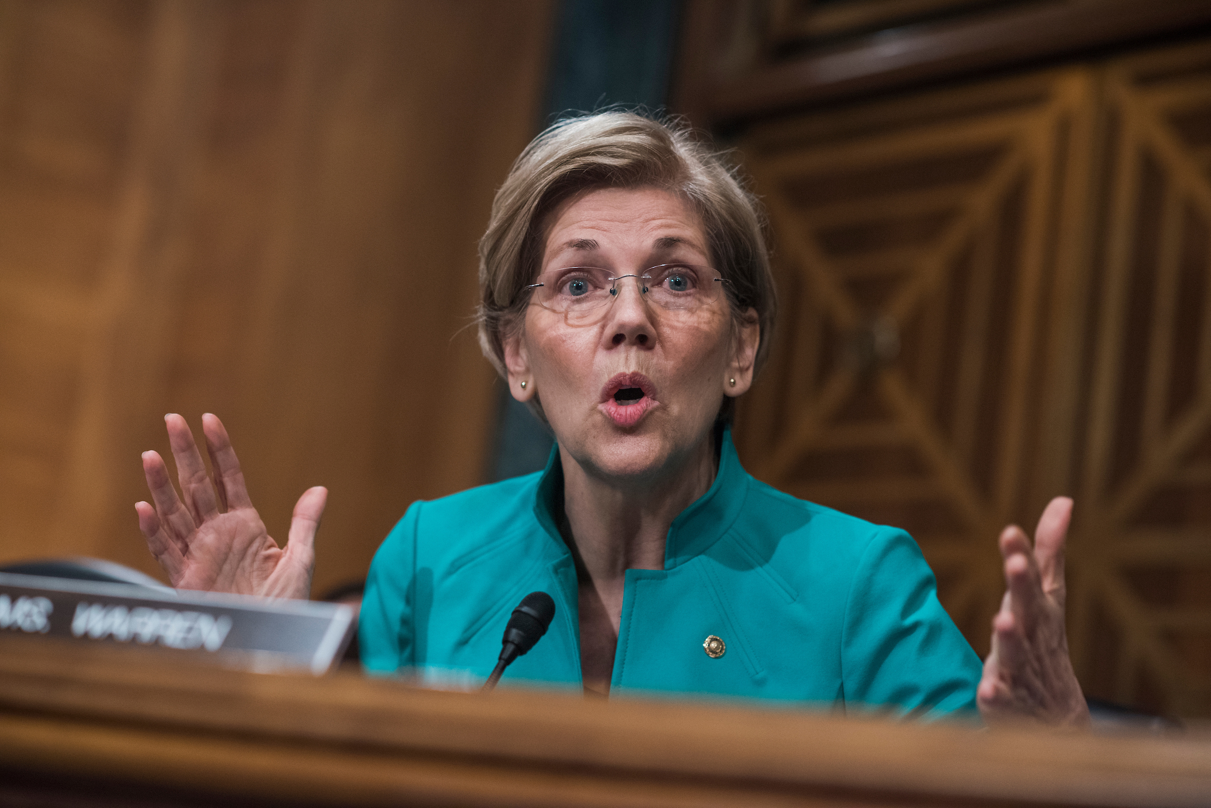 Sen. Elizabeth Warren, D-Mass., questions Mnuchin on Thursday. (Tom Williams/CQ Roll Call)