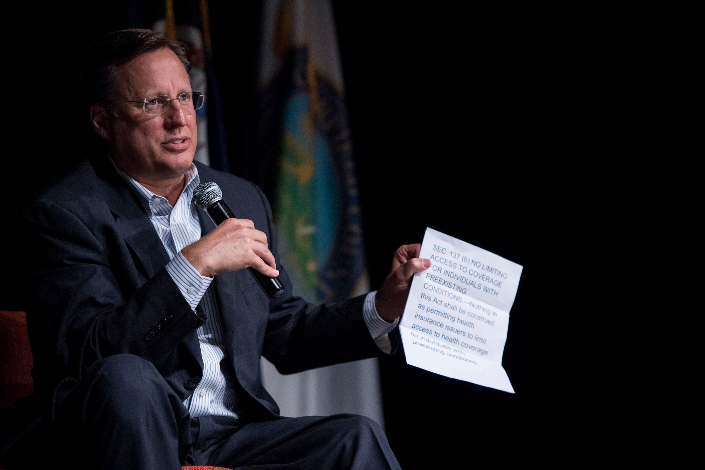 Virginia Rep. Dave Brat holds a town hall meeting in Midlothian, Virginia, on May 9. (Bill Clark/CQ Roll Call)
