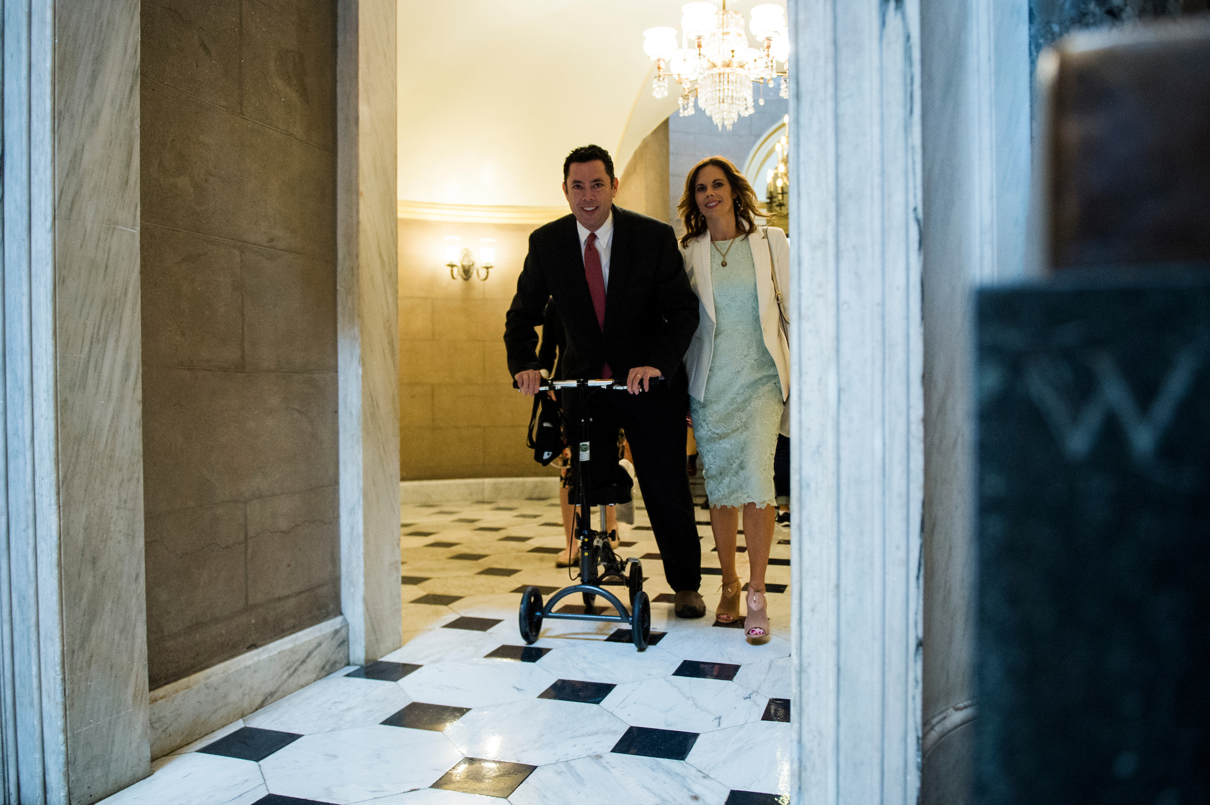 UNITED STATES - MAY 4: Rep. Jason Chaffetz, R-Utah, fresh off foot surgery, makes his way through Statuary Hall on his way to the House floor in the Capitol for the vote on repeal and replace of Obamacare (Photo By Bill Clark/CQ Roll Call)