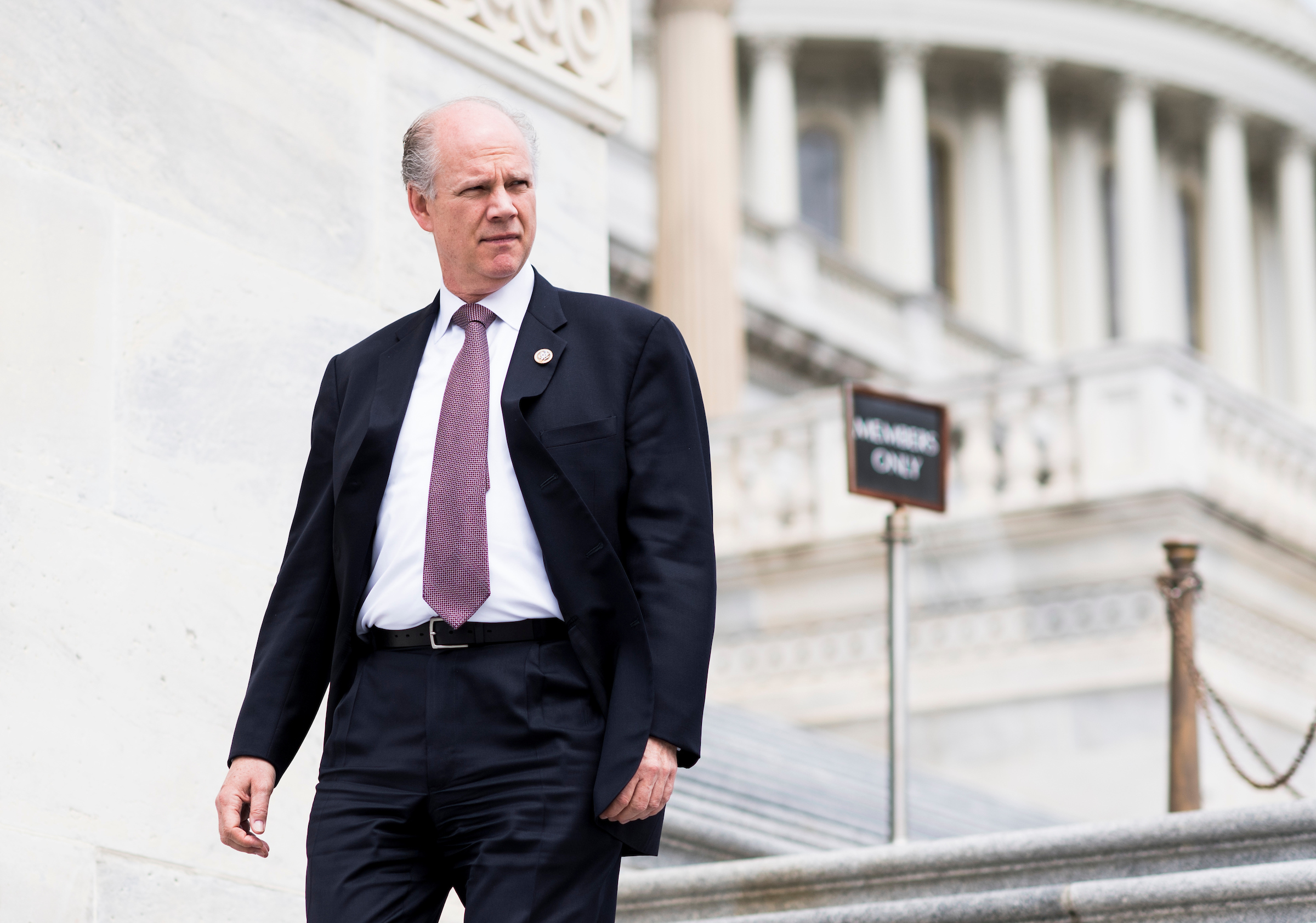 UNITED STATES - MAY 4: Rep. Dan Donovan, R-N.Y., walks down the House steps at the Capitol after a series of votes on repeal and replace of Obamacare on Thursday, May 4, 2017. (Photo By Bill Clark/CQ Roll Call)