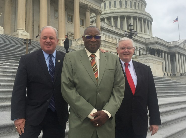 From left to right: Rep. Mike Doyle, Dusty Baker, Rep. Joe Barton. (Photo courtesy of Barton's office)