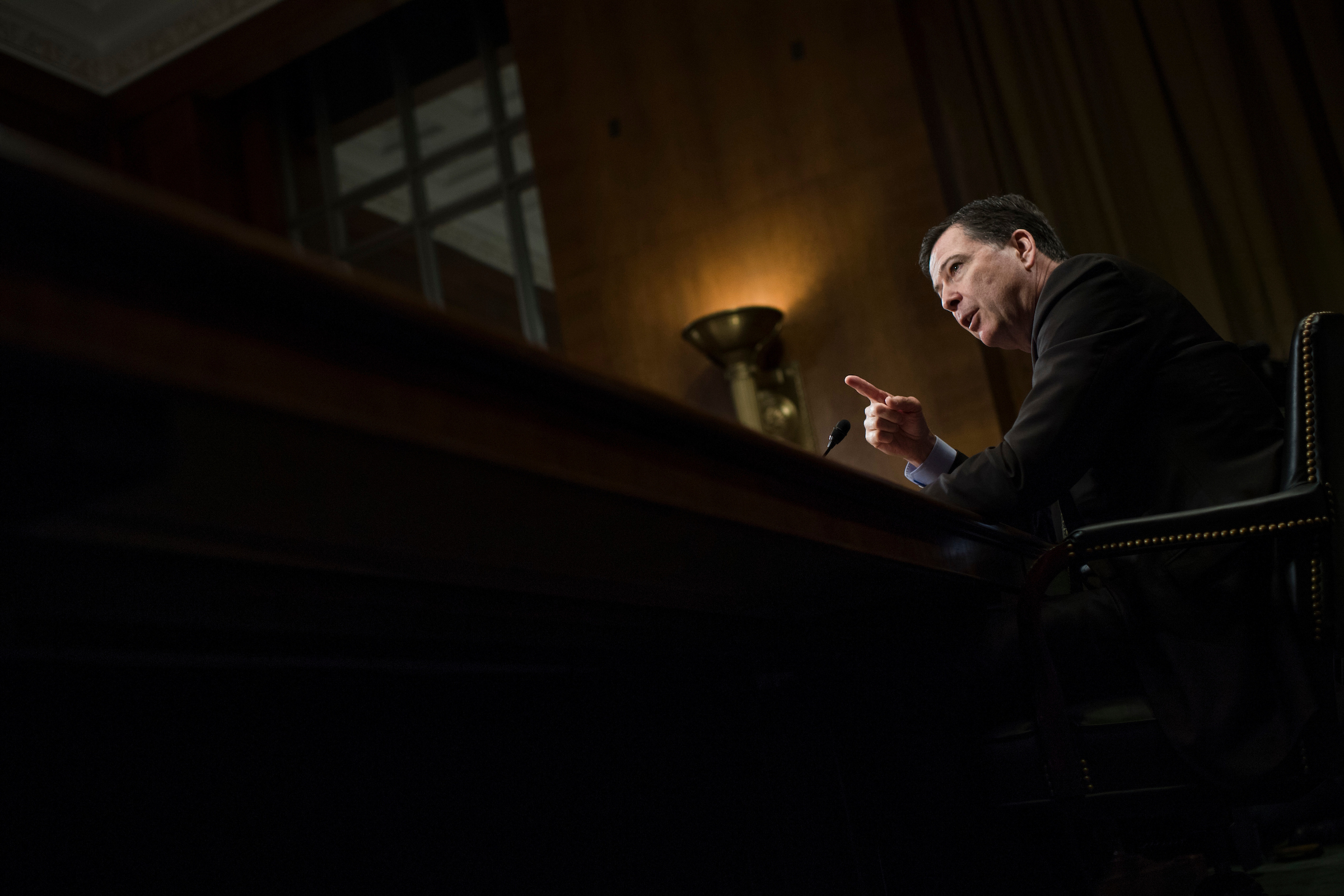 "UNITED STATES - MAY 3: FBI Director James Comey testifies before a Senate Judiciary Committee hearing in Dirksen Building titled ""Oversight of the Federal Bureau of Investigation,"" on May 3, 2017. (Photo By Tom Williams/CQ Roll Call)"