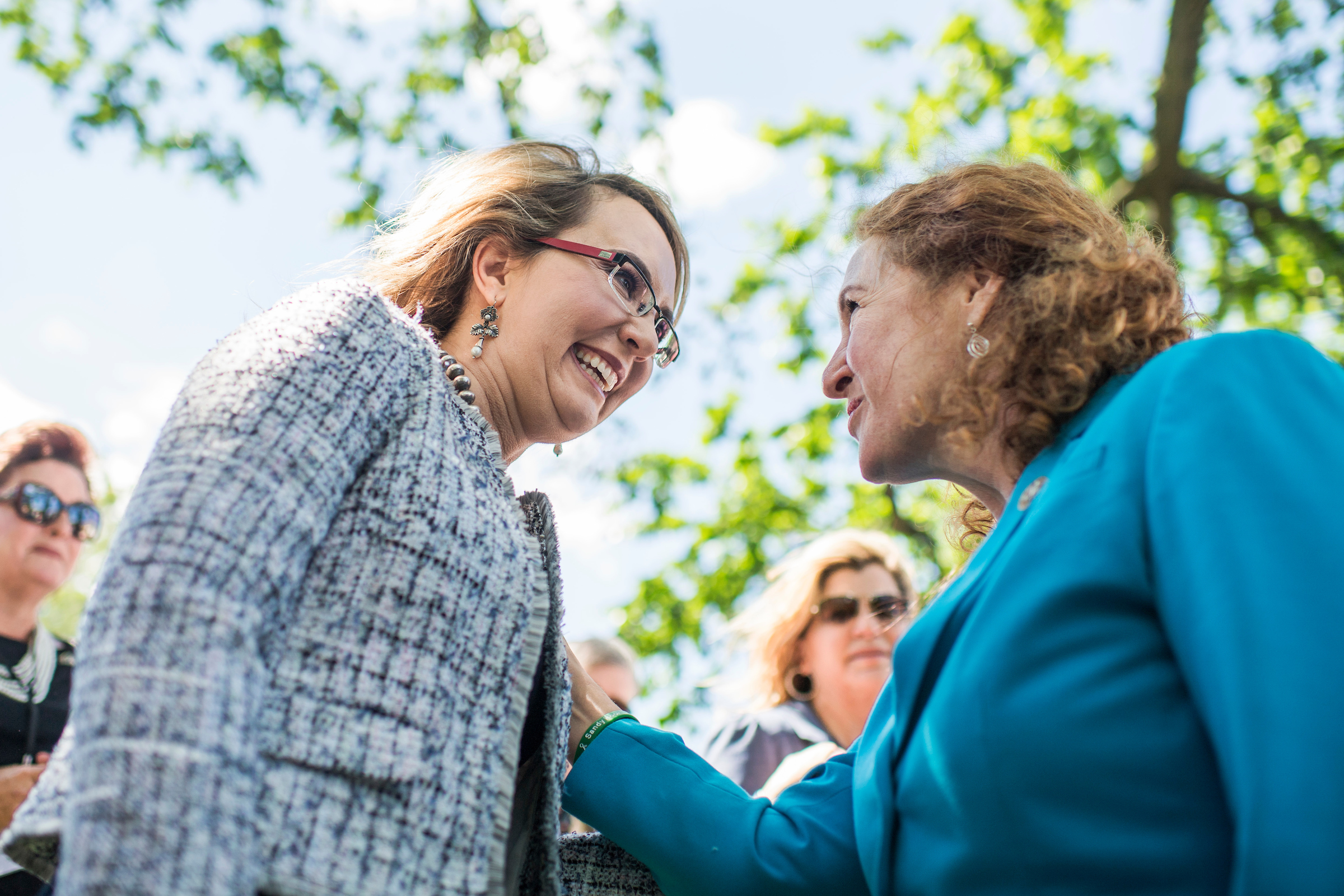 UNITED STATES - MAY 3: Former Rep. Gabrielle Giffords, D-Ariz., left, speaks with Rep. Elizabeth Esty, D-Conn., before a news conference with Americans for Responsible Solutions and the Brady Campaign to Prevent Gun Violence to call on Congress to address the issue and resist the agenda of gun lobbies on May 3, 2017. (Photo By Tom Williams/CQ Roll Call)