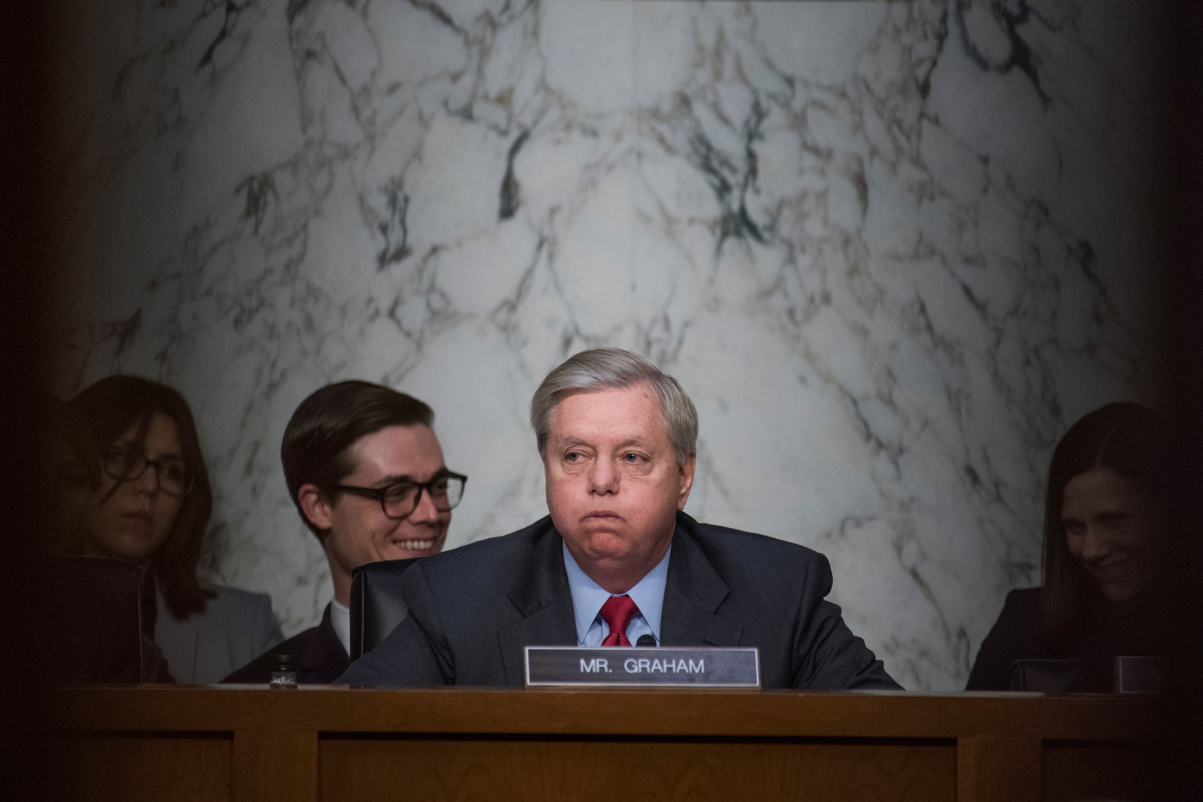 Chairman Lindsey Graham, R-S.C., conducts a Senate Judiciary Crime and Terrorism Subcommittee hearing with Yates and former Director of National Intelligence James Clapper. (Tom Williams/CQ Roll Call)