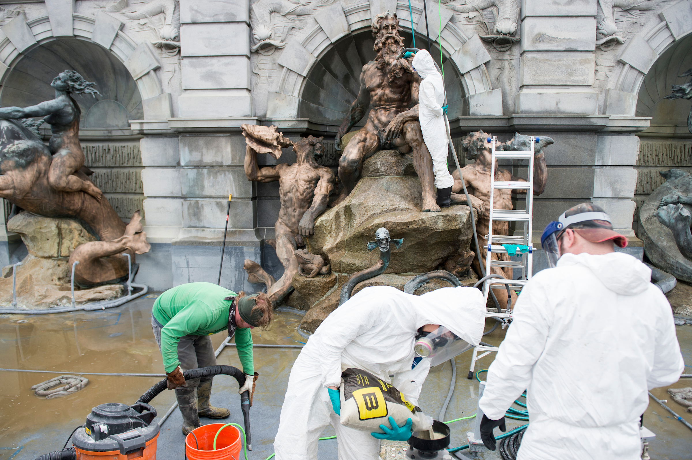 UNITED STATES - MAY 24: The Court of Neptune, the fountain at the front of the Thomas Jefferson Building of the Library of Congress, gets a cleaning on Wednesday, May 24, 2017. (Photo By Bill Clark/CQ Roll Call)