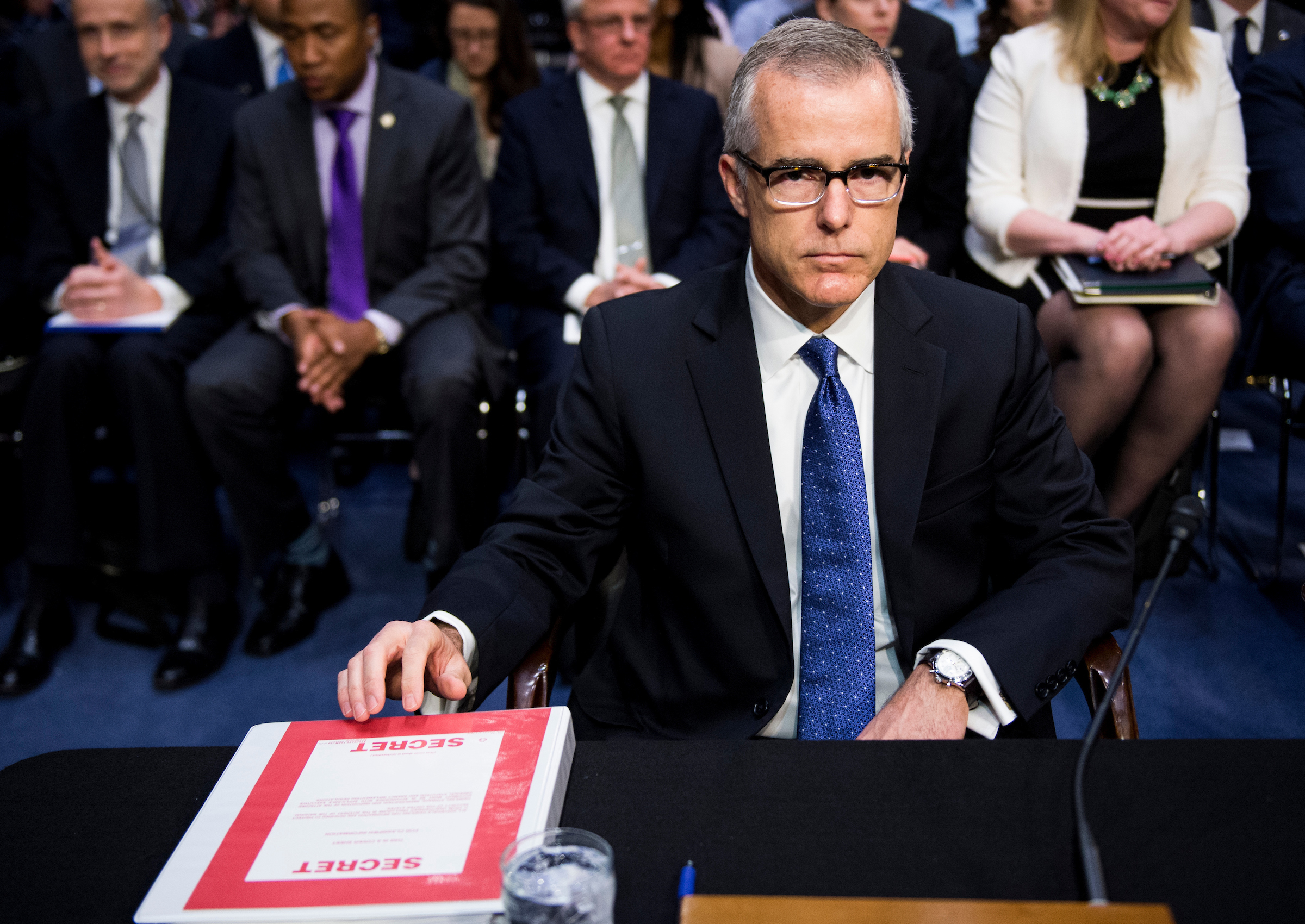 MAY 11: Acting FBI Director Andrew McCabe prepares to testify during the Senate Select Intelligence Committee hearing on World Wide Threats, two days after James B. Comey was fired as FBI director by President Donald Trump. (Bill Clark/CQ Roll Call)