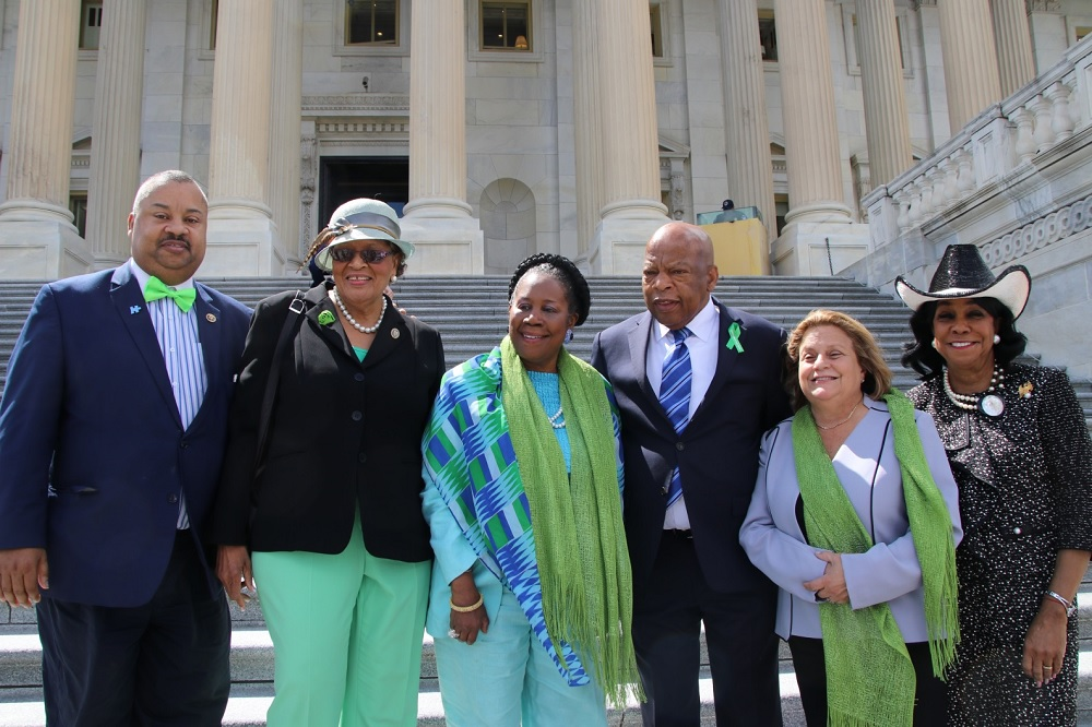 "From left to right: Reps. <a class=""memberLink"" title=""Click to view member info in a new window"" href=""http://data.rollcall.com/members/324?rel=memberLink"" target=""_blank"">Donald M. Payne Jr.</a> of Pennsylvania, <a class=""memberLink"" title=""Click to view member info in a new window"" href=""http://data.rollcall.com/members/52947?rel=memberLink"" target=""_blank"">Alma Adams</a> of North Carolina, <a class=""memberLink"" title=""Click to view member info in a new window"" href=""http://data.rollcall.com/members/475?rel=memberLink"" target=""_blank"">Sheila Jackson Lee</a> of Texas, <a class=""memberLink"" title=""Click to view member info in a new window"" href=""http://data.rollcall.com/members/131?rel=memberLink"" target=""_blank"">John Lewis</a> of Georgia, and <a class=""memberLink"" title=""Click to view member info in a new window"" href=""http://data.rollcall.com/members/119?rel=memberLink"" target=""_blank"">Ileana Ros-Lehtinen</a> and <a class=""memberLink"" title=""Click to view member info in a new window"" href=""http://data.rollcall.com/members/32369?rel=memberLink"" target=""_blank"">Frederica Wilson</a> of Florida. (Photo courtesy Payne's office)"