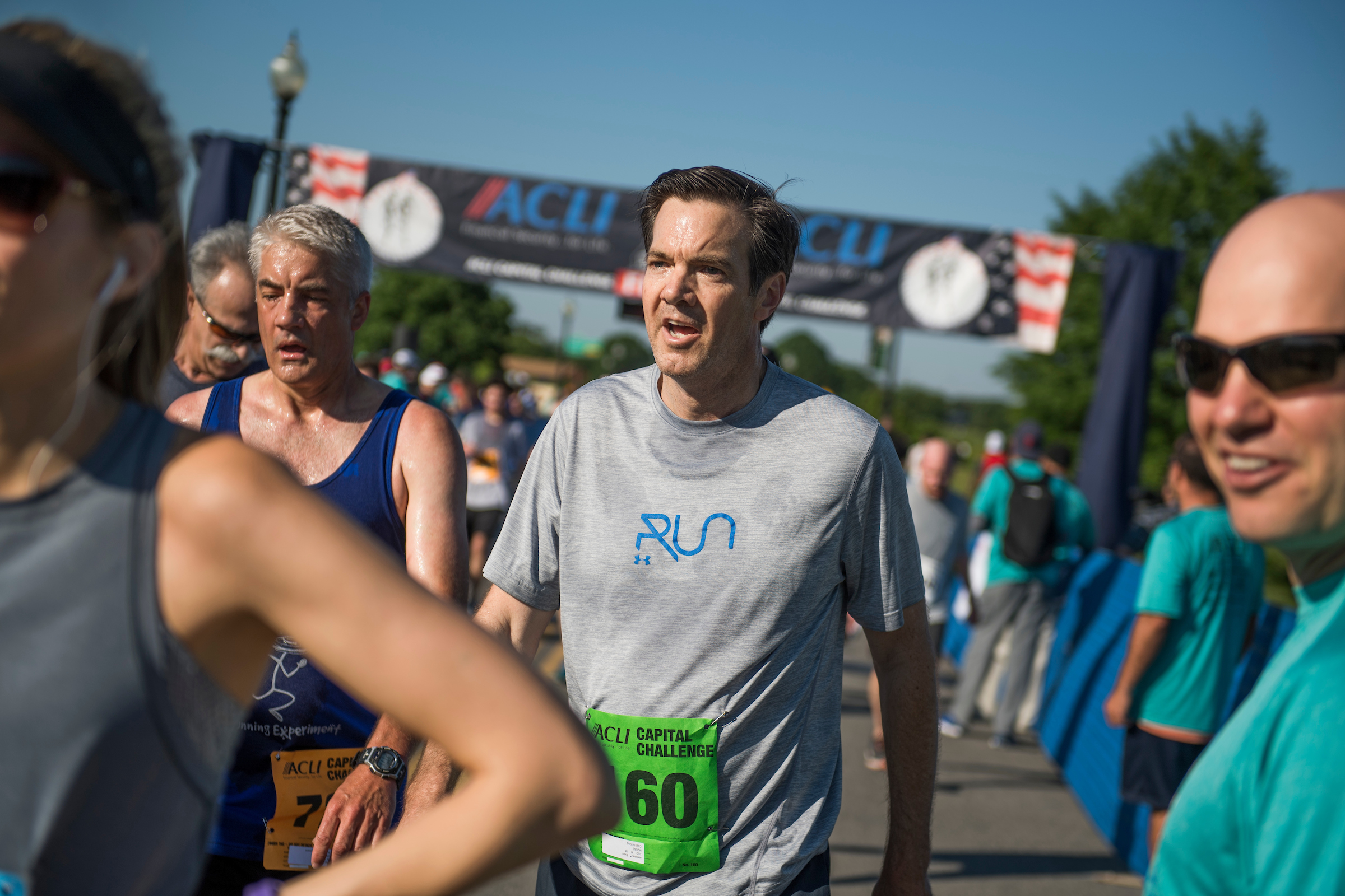 UNITED STATES - MAY 17: Rep. Evan Jenkins, R-W.Va., finishes the ACLI Capital Challenge 3 Mile Team Race in Anacostia Park, May 17, 2017. (Photo By Tom Williams/CQ Roll Call)