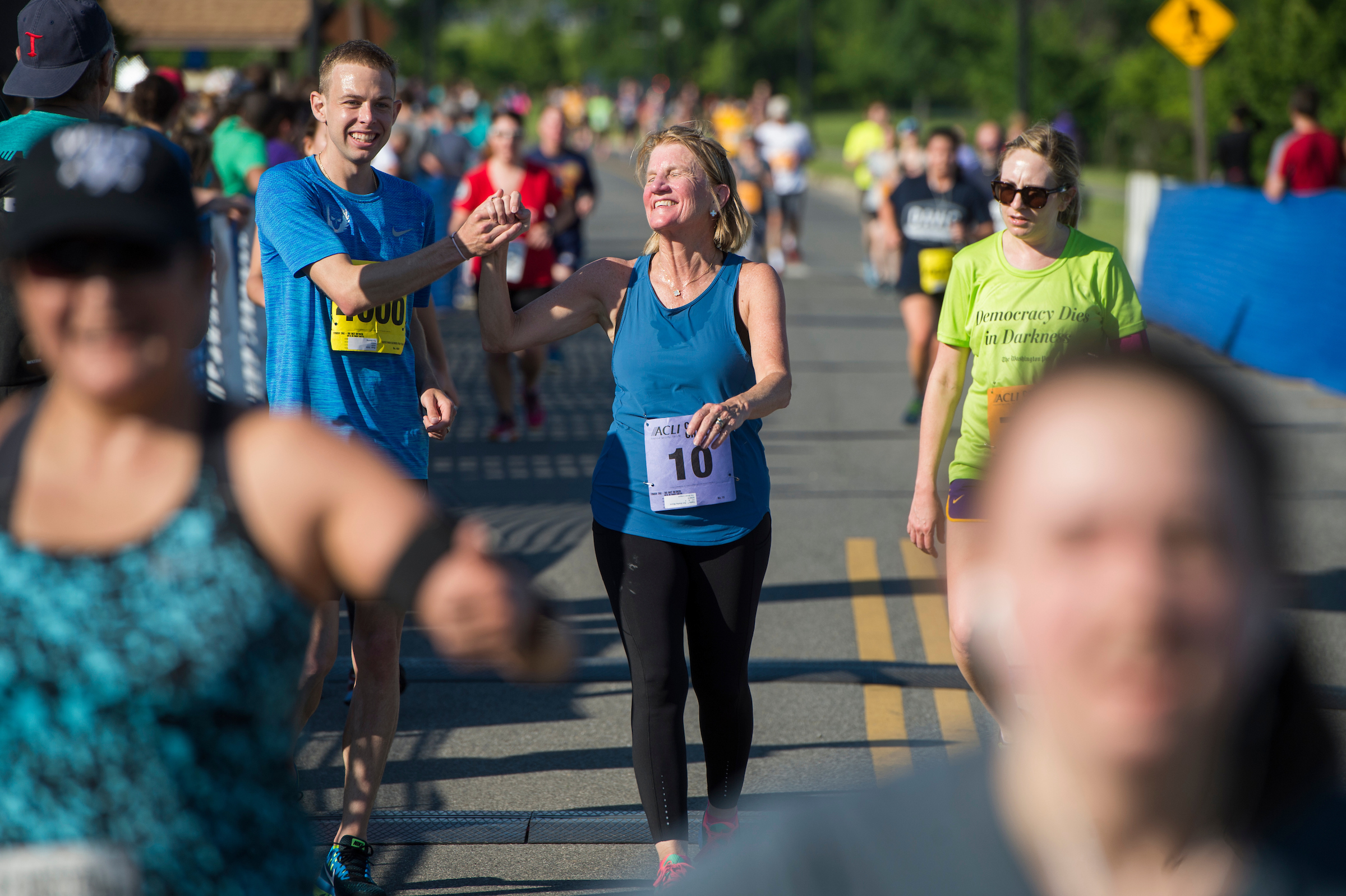 UNITED STATES - MAY 17: Sen. Shelley Moore Capito, R-W.Va., finishes the ACLI Capital Challenge 3 Mile Team Race in Anacostia Park, May 17, 2017. (Photo By Tom Williams/CQ Roll Call)