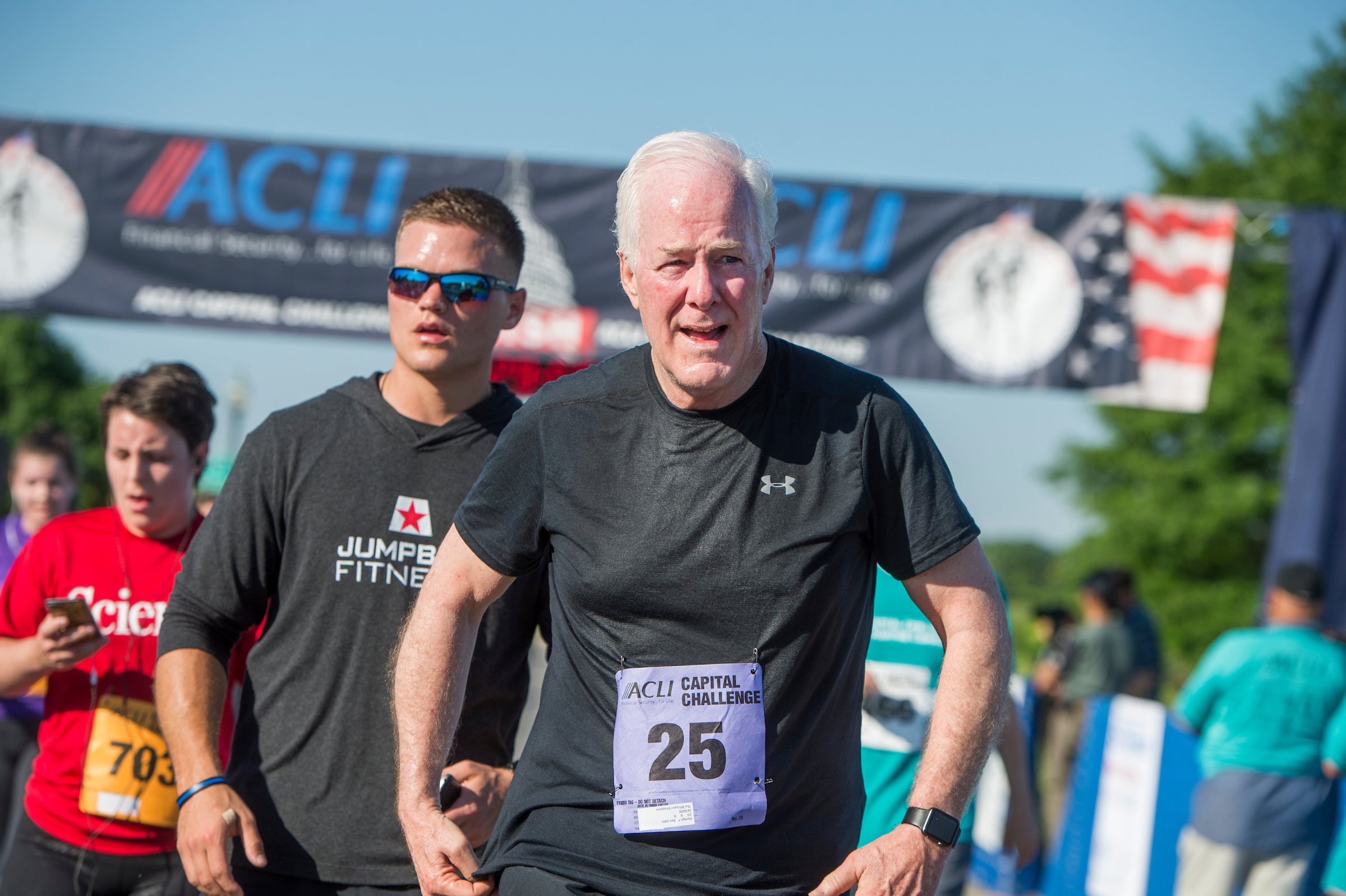 UNITED STATES - MAY 17: Sen. John Cornyn, R-Texas, runs in the ACLI Capital Challenge 3 Mile Team Race in Anacostia Park, May 17, 2017. (Photo By Tom Williams/CQ Roll Call)
