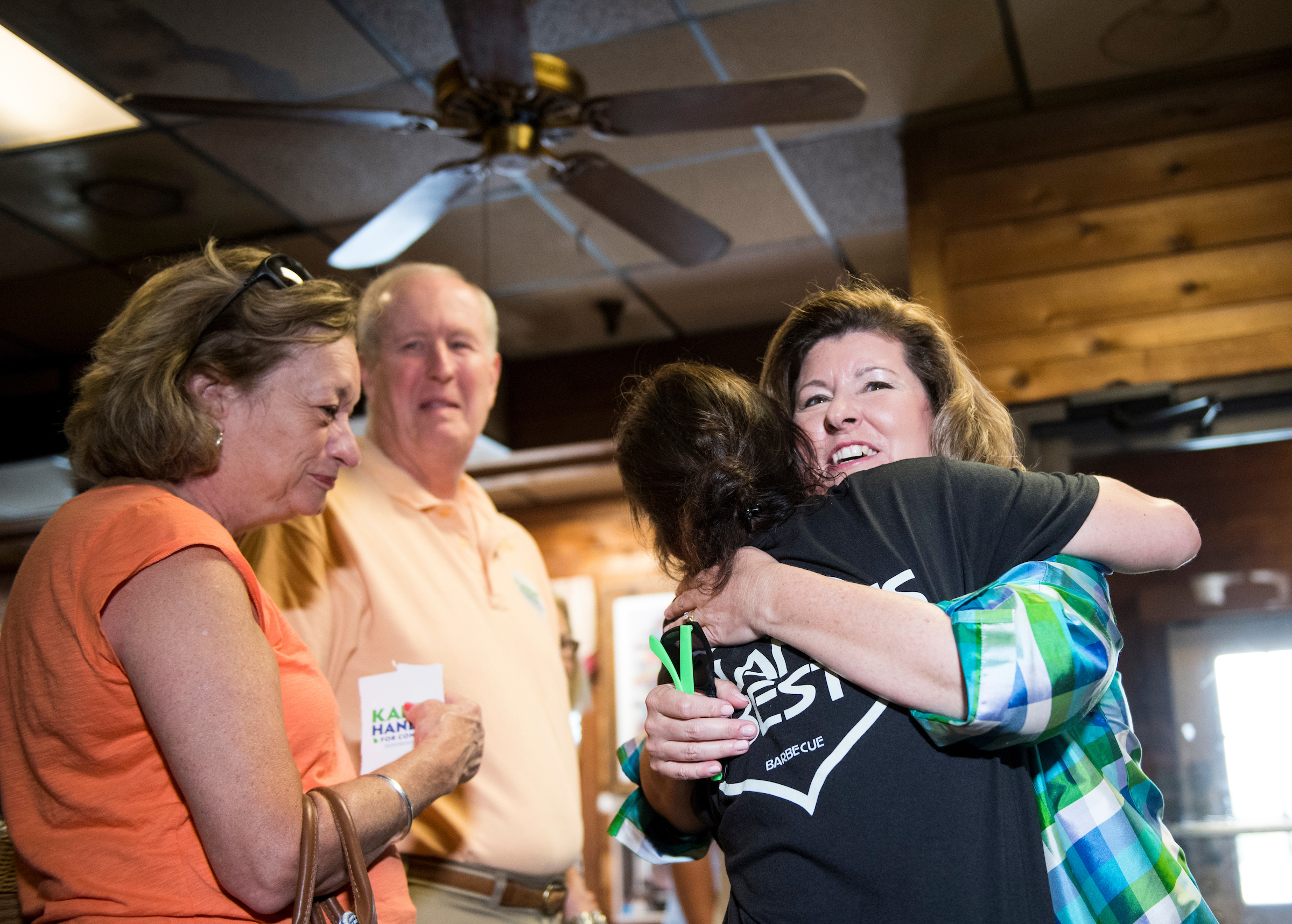 UNITED STATES - JUNE 19: Republican candidate for Georgia's 6th Congressional district Karen Handel visits with diners at the Old Hickory House in Tucker, Ga., on the final day of campaigning on Monday, June 19, 2017. Handel is facing off against Democrat Jon Ossoff in the special election to fill the seat vacated by current HHS Secretary Tom Price will be held on Tuesday. (Photo By Bill Clark/CQ Roll Call)