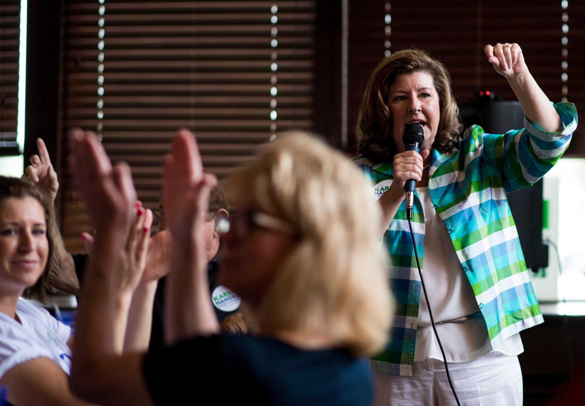 UNITED STATES - JUNE 19: Republican candidate for Georgia's 6th Congressional district Karen Handel speaks to supporters at the Cherokee Cattle Ranch restaurant in Marietta, Ga., on the final day of campaigning on Monday, June 19, 2017. Handel is facing off against Democrat Jon Ossoff in the special election to fill the seat vacated by current HHS Secretary Tom Price will be held on Tuesday. (Photo By Bill Clark/CQ Roll Call)