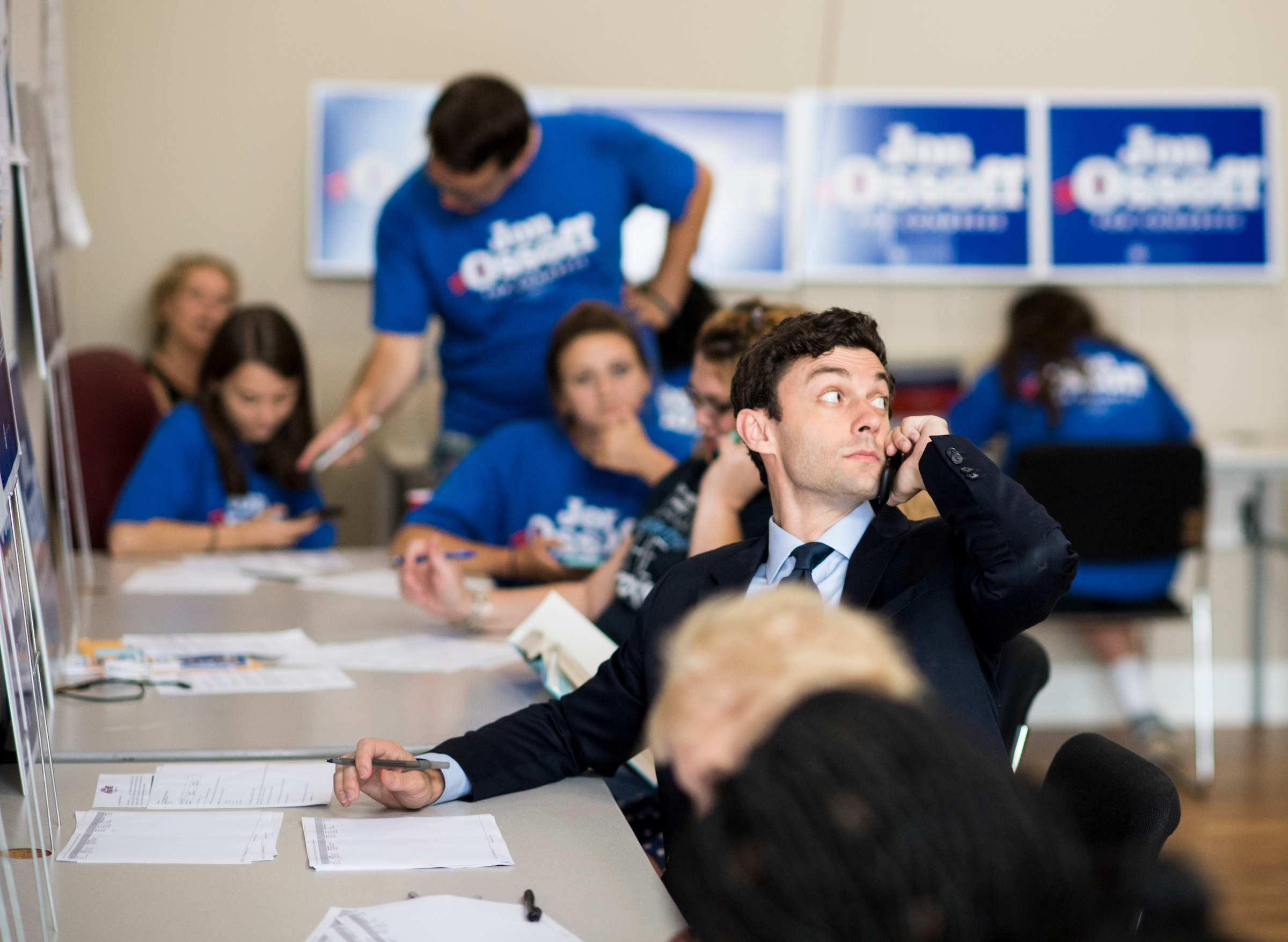 Jon Ossoff, Democratic candidate for Georgia's 6th Congressional district, makes calls to voters in his Marietta, Ga., campaign office on special election day, June 20, 2017. Ossoff is facing off against Republican Karen Handel in the special election to fill the seat vacated by current HHS Secretary Tom Price. (Photo By Bill Clark/CQ Roll Call)