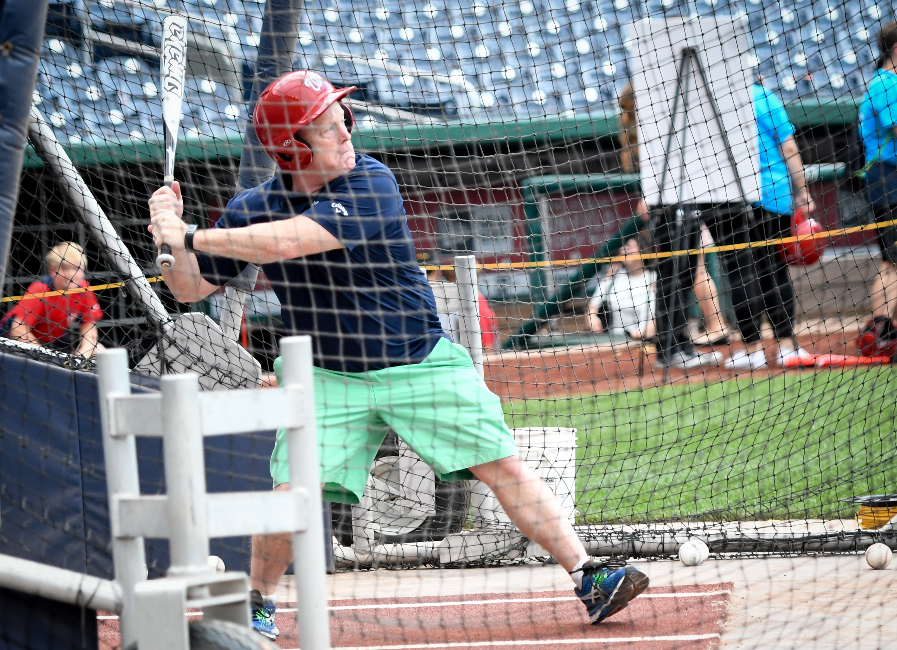 White House Press Secretary Sean Spicer practices his swing at the Horton's Kids event Wednesday. (Courtesy Jenn Reid Photography)