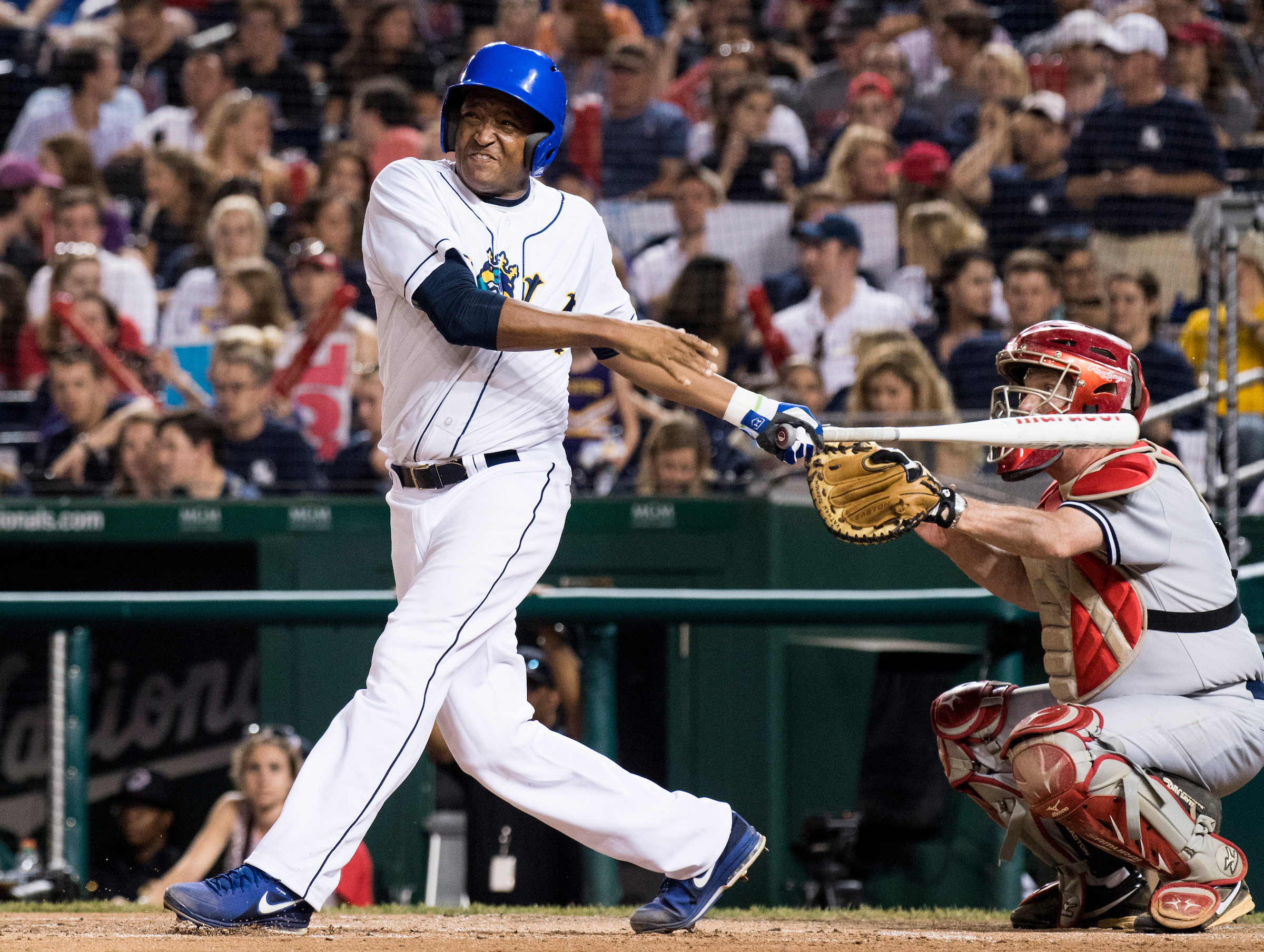 Rep. Cedric Richmond, D-La., takes a swing during the annual Congressional Baseball Game at Nationals Park in Washington on Thursday. (Bill Clark/CQ Roll Call)