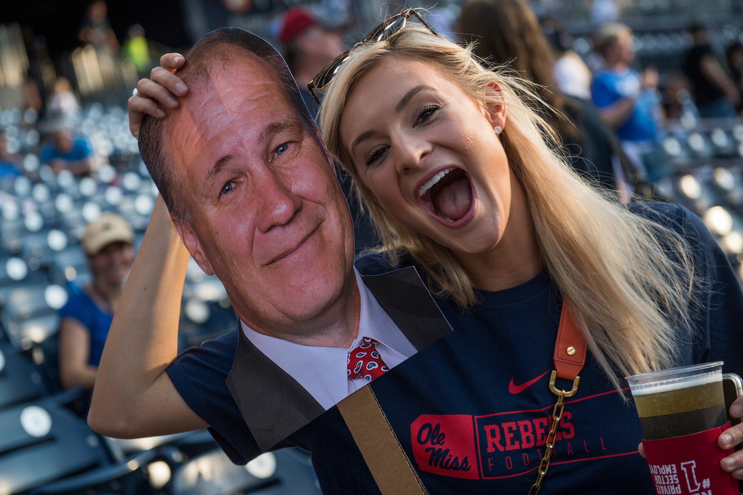 UNITED STATES - JUNE 15: A fan poses with a cut out of Rep. Trent Kelly, R-Miss., during the 56th Congressional Baseball Game at Nationals Park on June 15, 2017. (Photo By Tom Williams/CQ Roll Call)