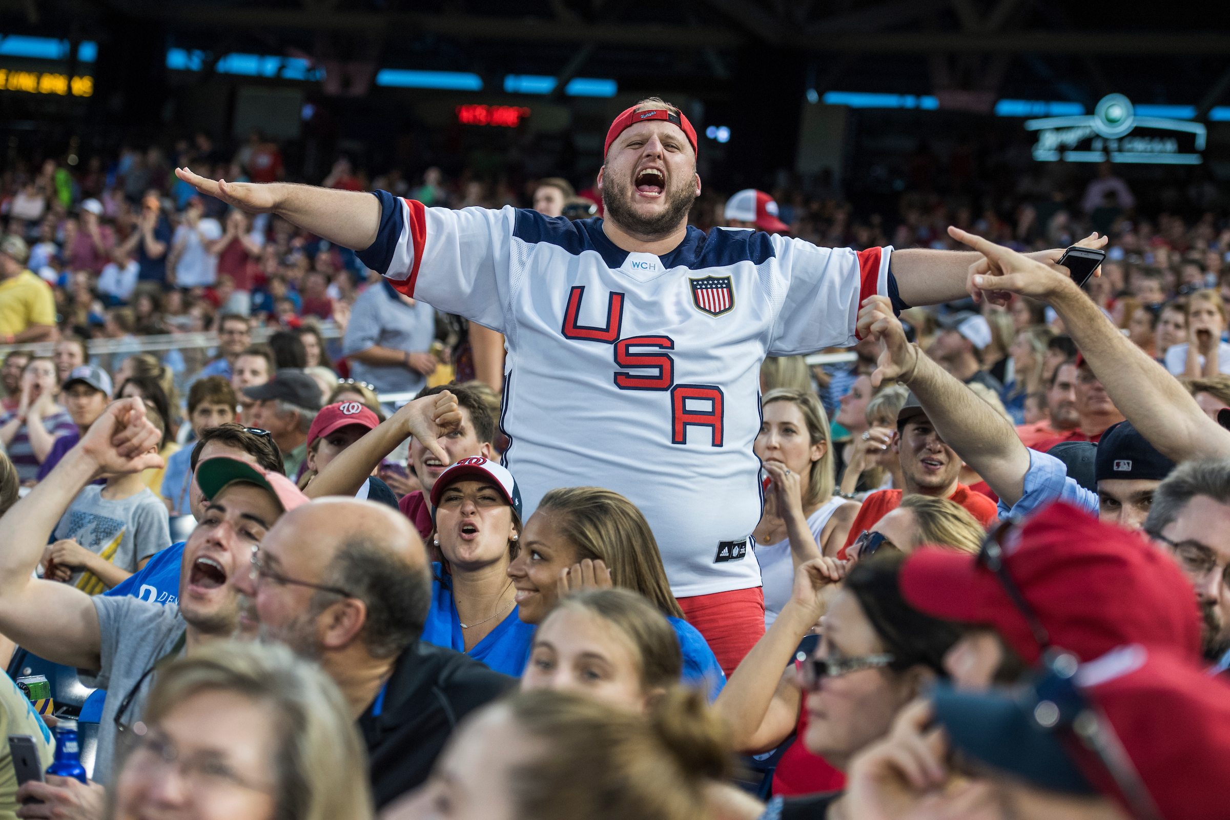 Republicans fan watch the 56th Congressional Baseball Game at Nationals Park on June 15, 2017. (Photo By Tom Williams/CQ Roll Call)