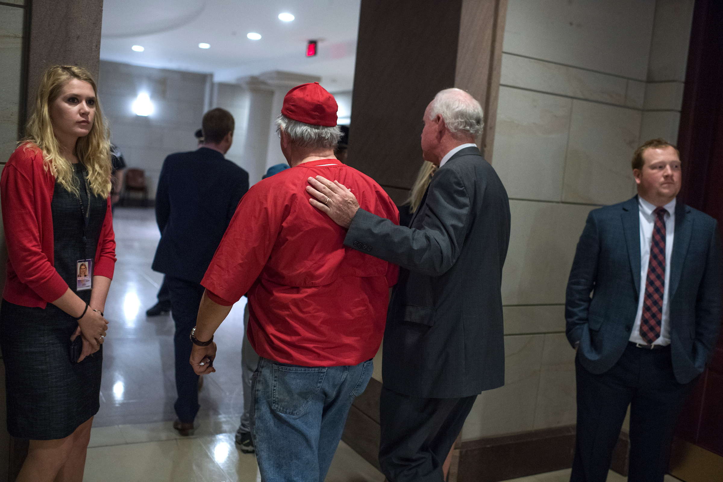 UNITED STATES - JUNE 14: Reps. Joe Barton, R-Texas, left, and Patrick Meehan, R-Pa., make their way to a meeting in the Capitol after a shooting at the Republican's baseball practice in Alexandria on June 14, 2017. (Photo By Tom Williams/CQ Roll Call)