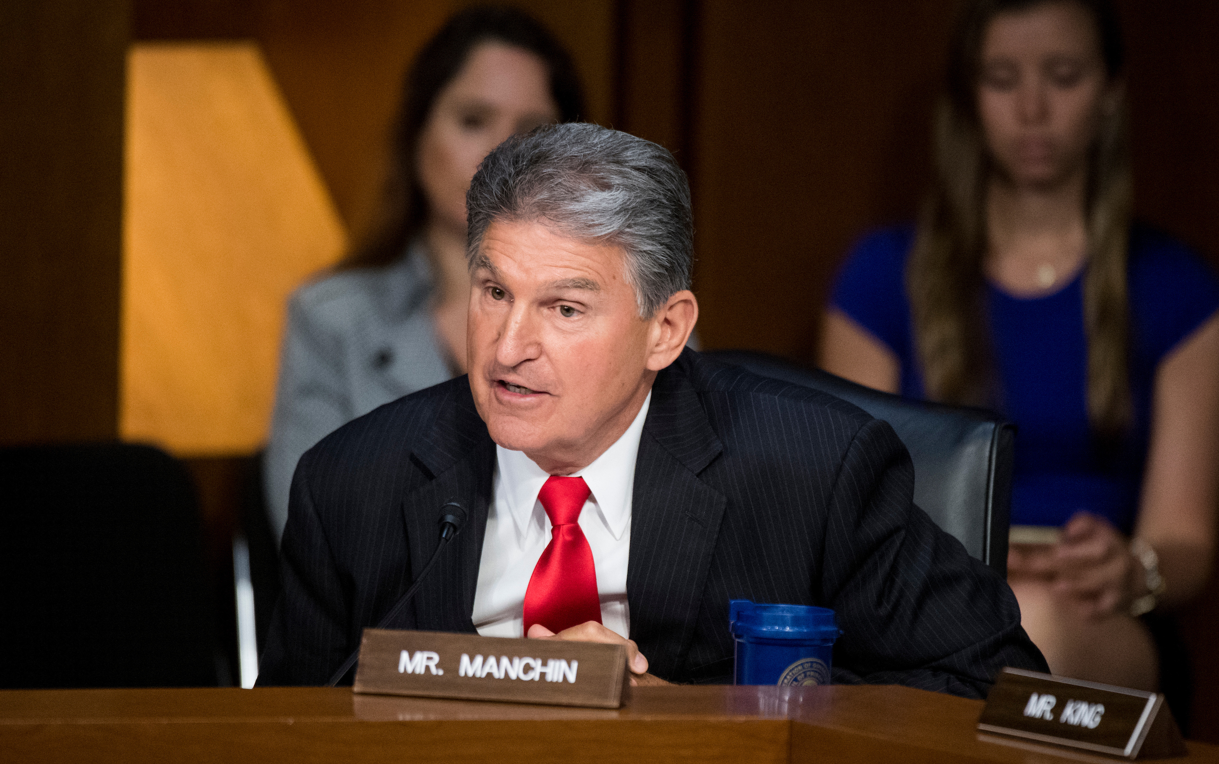 "UNITED STATES - JUNE 8: Sen. Joe Manchin, D-W. Va., questions former FBI Director James Comey during the Senate Select Intelligence Committee hearing on ""Russian Federation Efforts to Interfere in the 2016 U.S. Elections"" on Thursday, June 8, 2017. (Photo By Bill Clark/CQ Roll Call)"