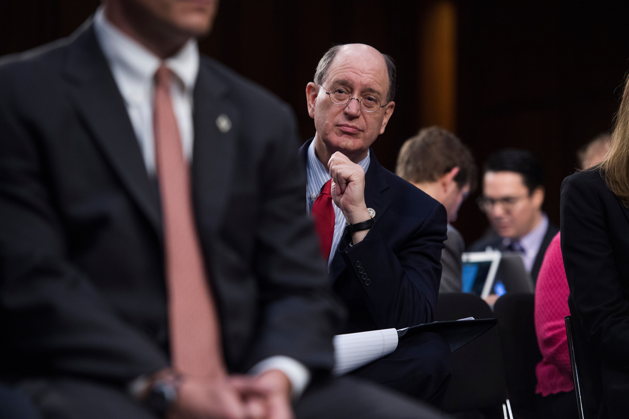 California Rep. Brad Sherman had a prime seat behind Comey at Thursday's hearing. (Tom Williams/CQ Roll Call)
