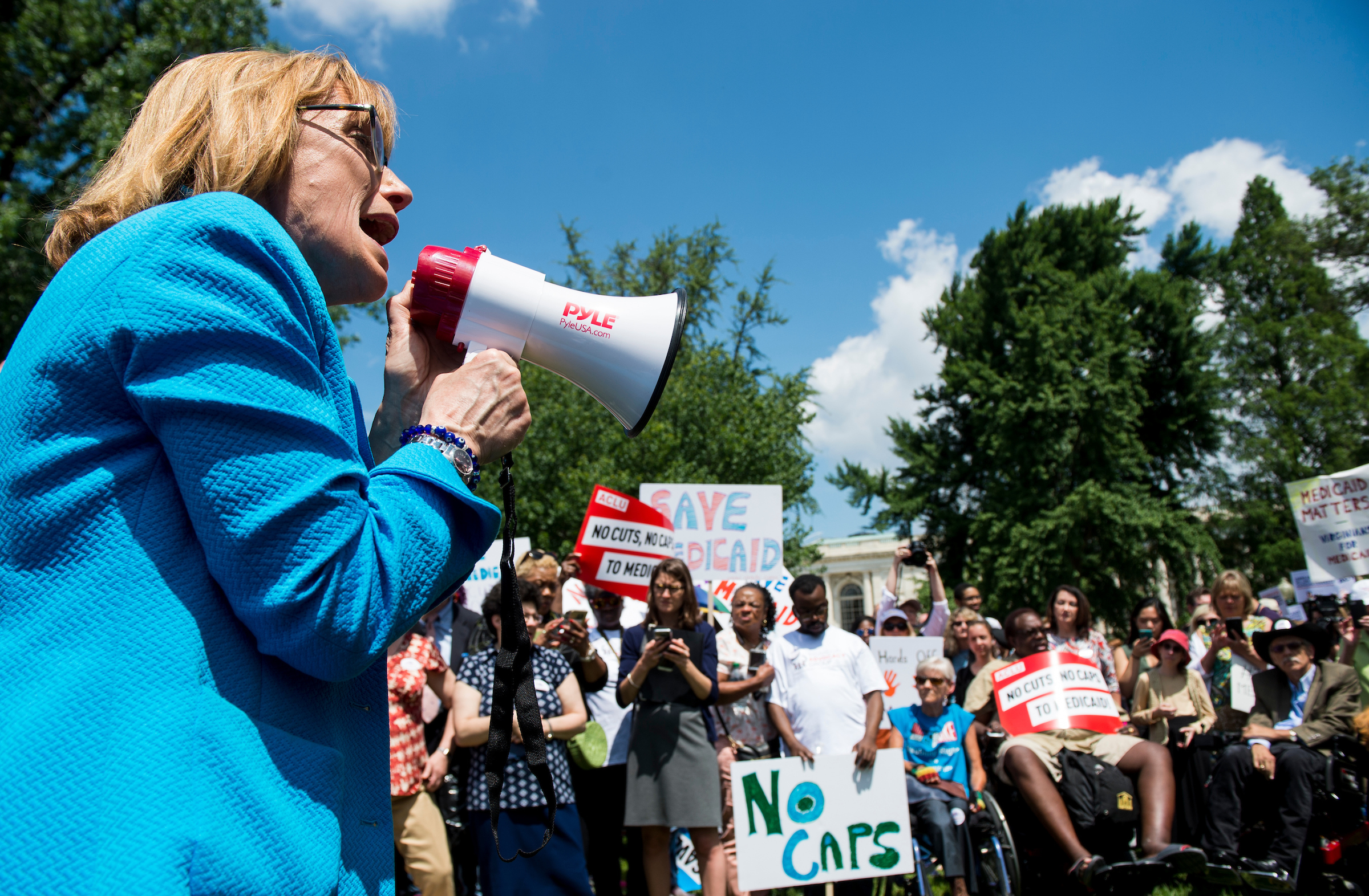 New Hampshire Sen. Maggie Hassan speaks during the Senate Democrats' rally against Medicaid cuts in front of the U.S. Capitol on Tuesday. (Bill Clark/CQ Roll Call)