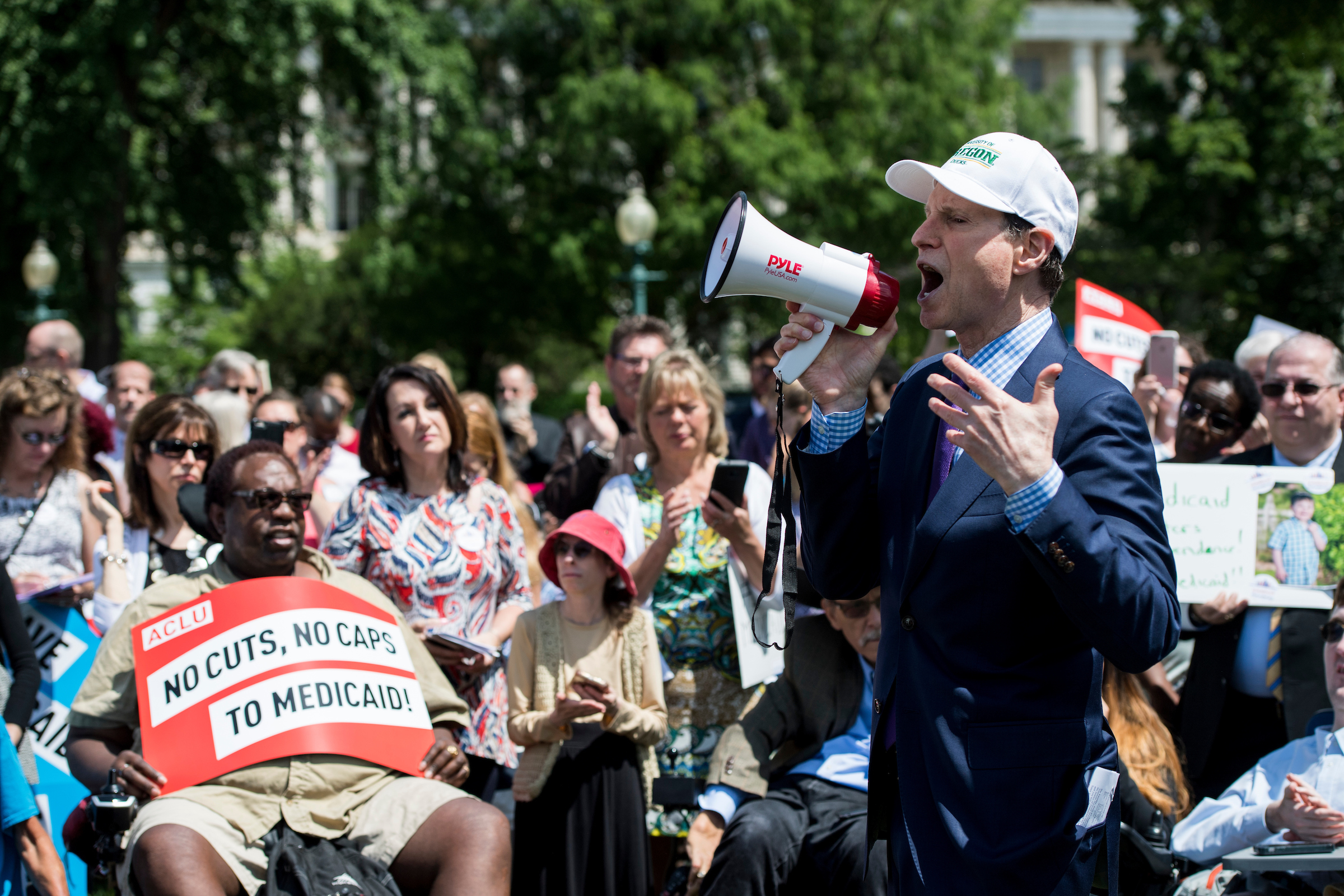 UNITED STATES - JUNE 6: Sen. Ron Wyden, D-Ore., speaks during the Senate Democrats' rally against Medicaid cuts in front of the U.S. Capitol on Tuesday, June 6, 2017. (Photo By Bill Clark/CQ Roll Call)