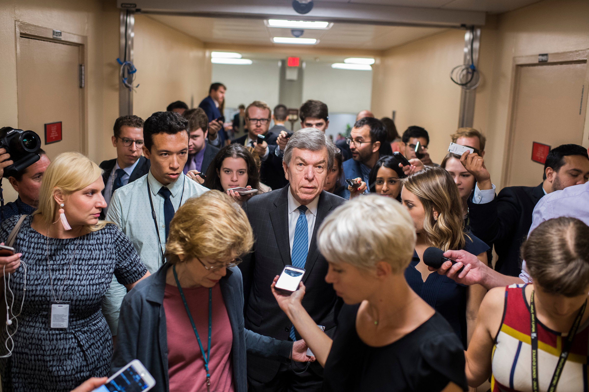 Sen. Roy Blunt, R-Mo., makes his way to the Senate Policy luncheon in the Capitol on Tuesday. (Tom Williams/CQ Roll Call)