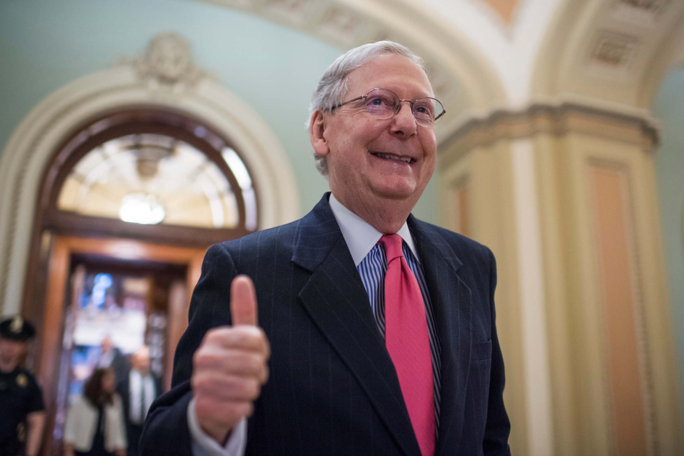 "APRIL 6: Senate Majority Leader Mitch McConnell, R-Ky., gives a thumbs up after the Senate invoked the ""nuclear option"" which will allow for a majority vote to confirm a Supreme Court justice nominee. The vote for nominee Neil Gorsuch happened Friday, filling the long-open seat for the high court. (Tom Williams/CQ Roll Call)"
