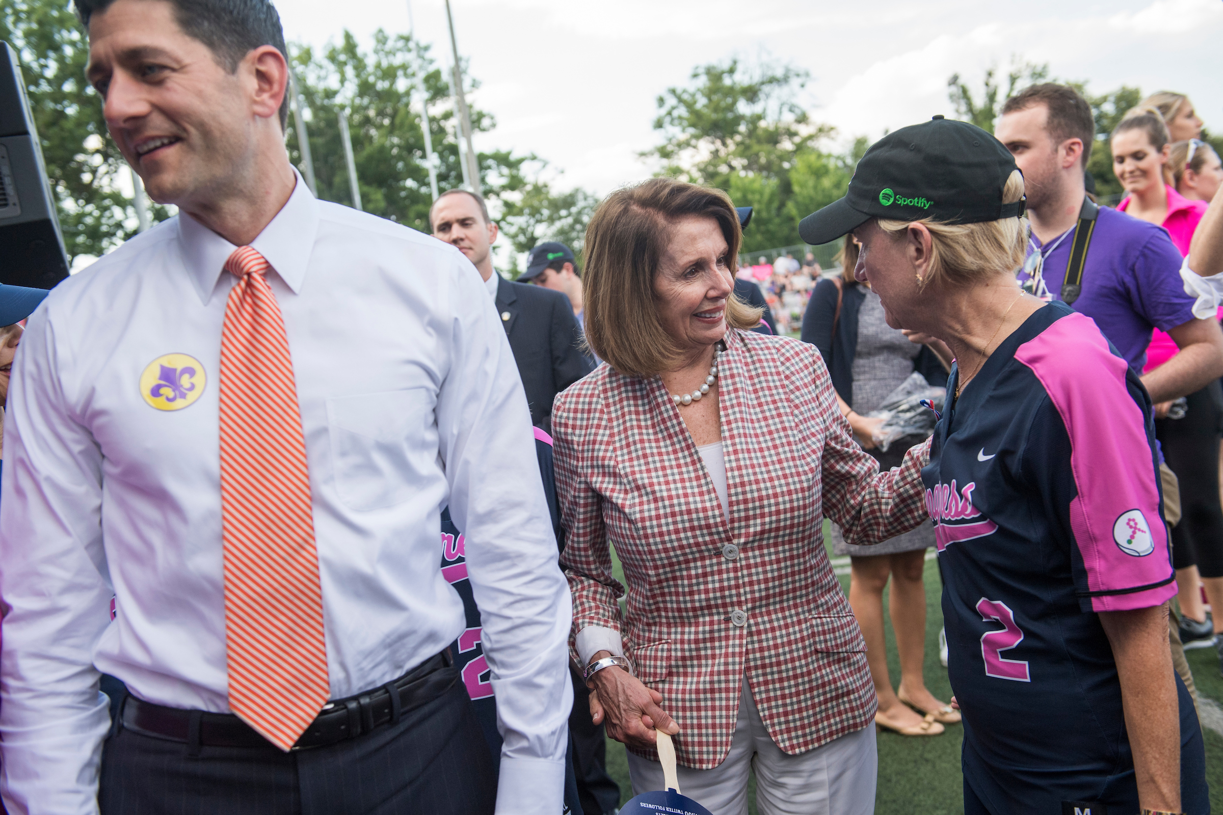 UNITED STATES - JUNE 21: From left, Speaker of the House Paul Ryan, R-Wis., House Minority Leader Nancy Pelosi, D-Calif., and Sen. Shelley Moore Capito, R-W.Va., arrive for the Congressional Women's Softball game that pits Congresswomen against female journalists at Watkins Recreation Center on Capitol Hill, June 21, 2017. The game benefits the Young Survival Coalition that helps young women with breast cancer. The press team prevailed 2-1. (Photo By Tom Williams/CQ Roll Call)
