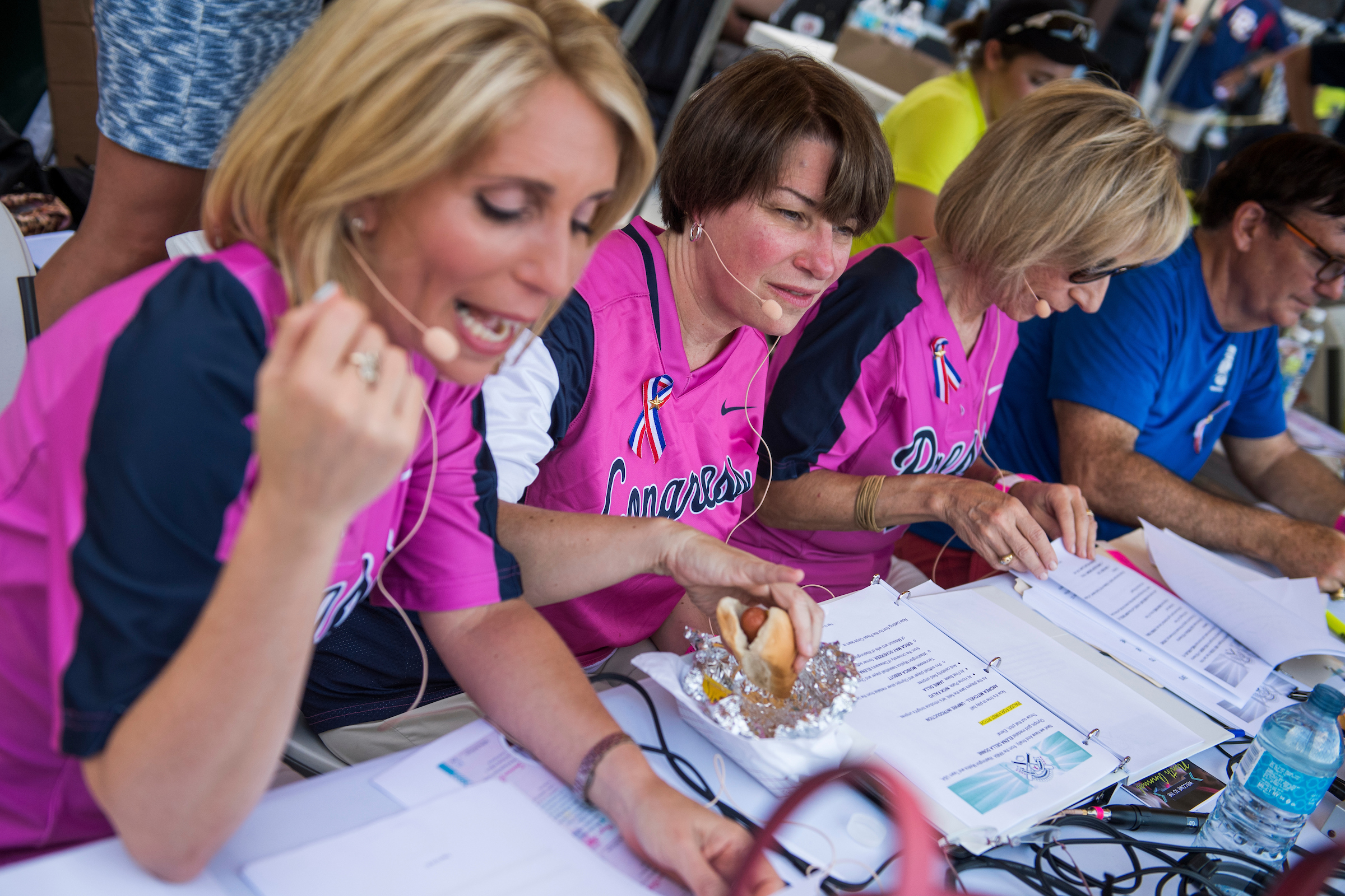 UNITED STATES - JUNE 21: From left, CNN's Dana Bash, Sen. Amy Klobuchar, D-Minn., and NBC's Andrea Mitchell, run the announcer's booth during the Congressional Women's Softball game that pits Congresswomen against female journalists at Watkins Recreation Center on Capitol Hill, June 21, 2017. The game benefits the Young Survival Coalition that helps young women with breast cancer. The press team prevailed 2-1. (Photo By Tom Williams/CQ Roll Call)