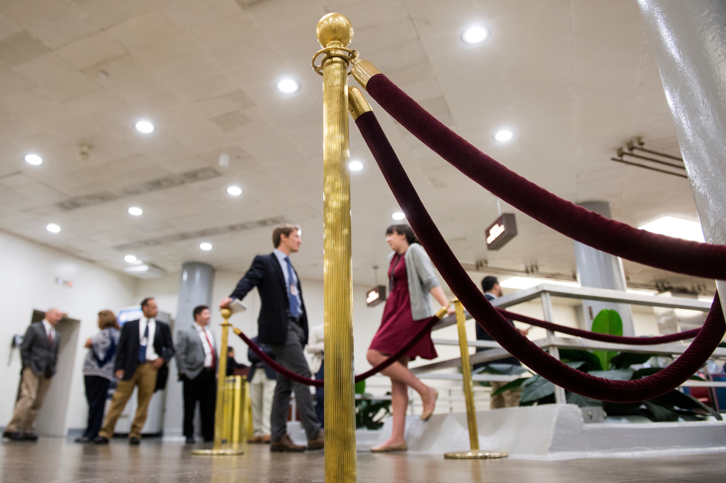 Ropes and stanchions have been set up in the area of the Senate subway stop in the U.S. Capitol to help control the growing crowds of reporters. (Bill Clark/CQ Roll Call)