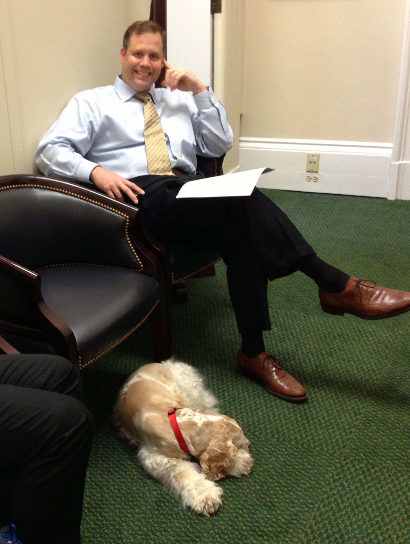 Oliver hangs out with the congressman while he works in his office. (Courtesy of Bridenstine's office)