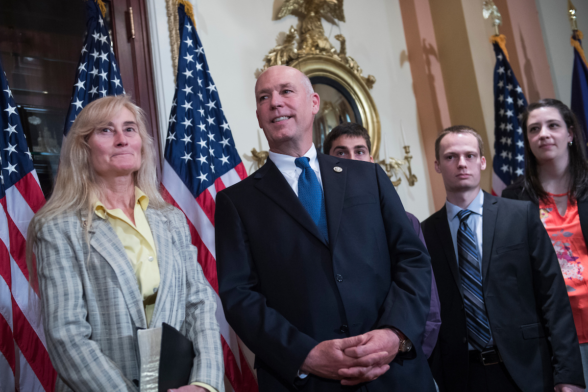 Rep. Greg Gianforte, R-Mont., his wife Susan, and family, arrive for a swearing in ceremony in the Capitol with Speaker Paul Ryan, R-Wis., before the actual event on the House floor on June 21, 2017. (Photo By Tom Williams/CQ Roll Call)