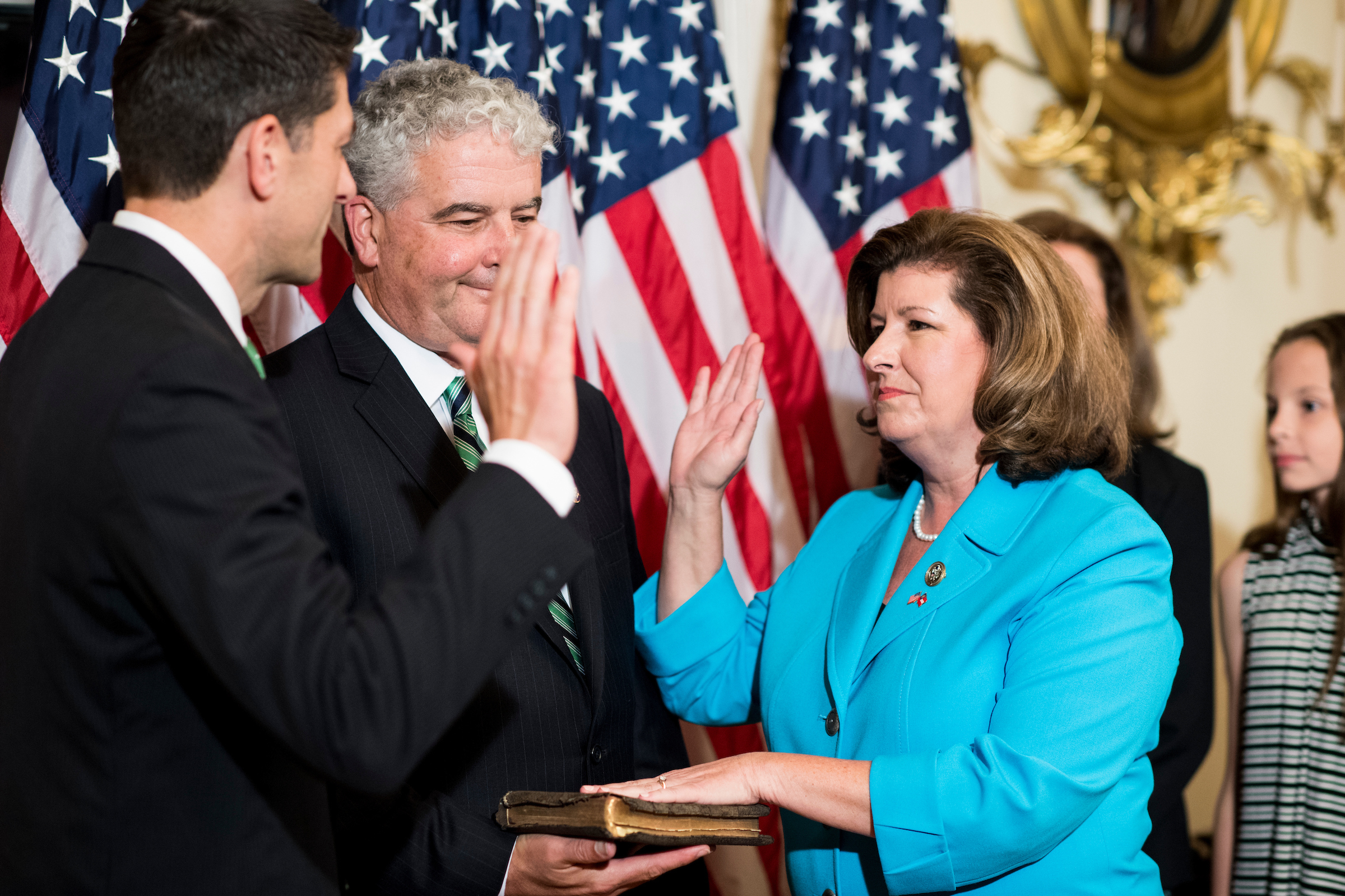 JUNE 26: Speaker of the House Paul D. Ryan, R-Wis., conducts a ceremonial swearing in of Rep. Karen Handel, R-Ga., in the Capitol. Handel won a special election to replace Health and Human Services Secretary Tom Price rounding out the special elections resulting from Trump's Cabinet picks. (Bill Clark/CQ Roll Call)