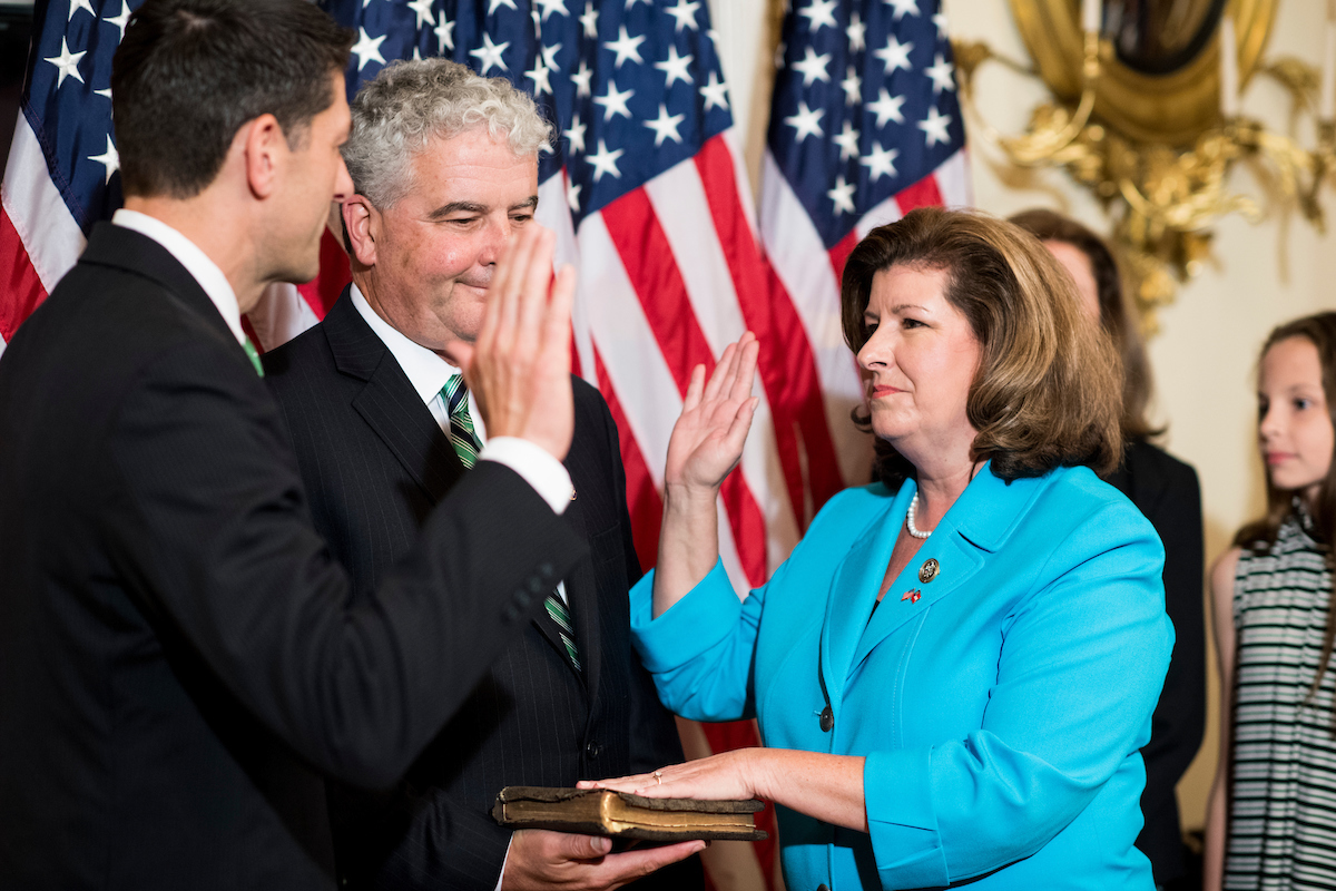 UNITED STATES - JUNE 26: Speaker of the House Paul Ryan, R-Wisc., conducts a ceremonial swearing in of Rep. Karen Handel, R-Ga., in the Capitol on Monday, June 26, 2017. (Photo By Bill Clark/CQ Roll Call)