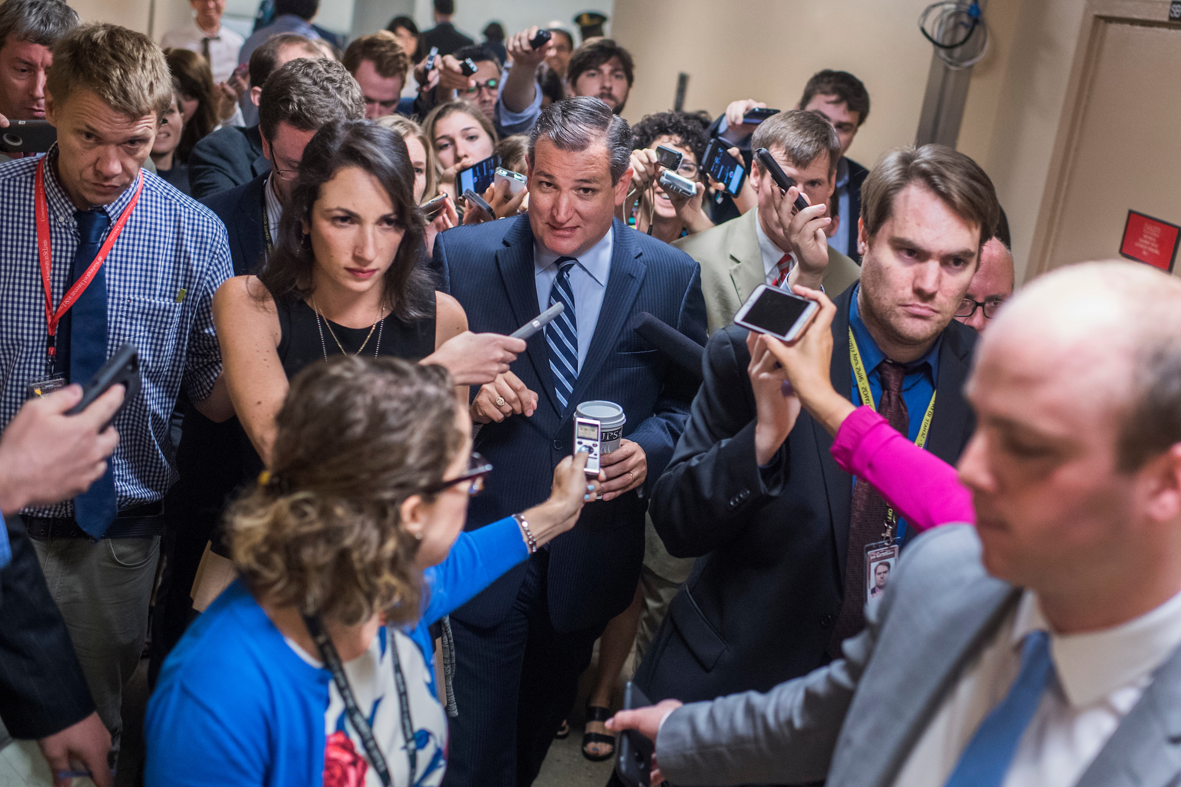 UNITED STATES - JULY 18: Sen. Ted Cruz, R-Texas, talks with reporters before the Senate Policy Luncheons in the Capitol on July 18, 2017. (Photo By Tom Williams/CQ Roll Call)