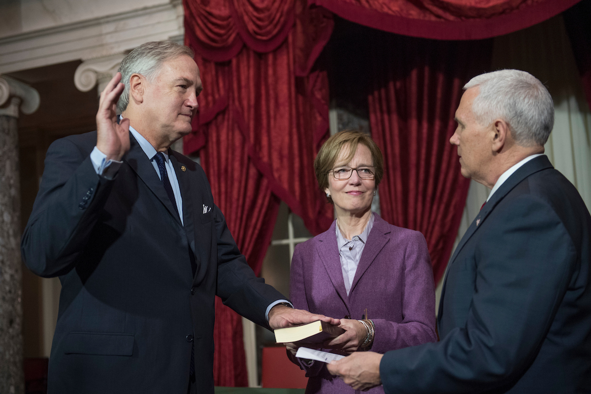 Sen. Luther Strange, R-Ala., is administered an oath by Vice President Mike Pence during a swearing-in ceremony in the Capitol's Old Senate Chamber, February 9, 2017. (Photo By Tom Williams/CQ Roll Call)